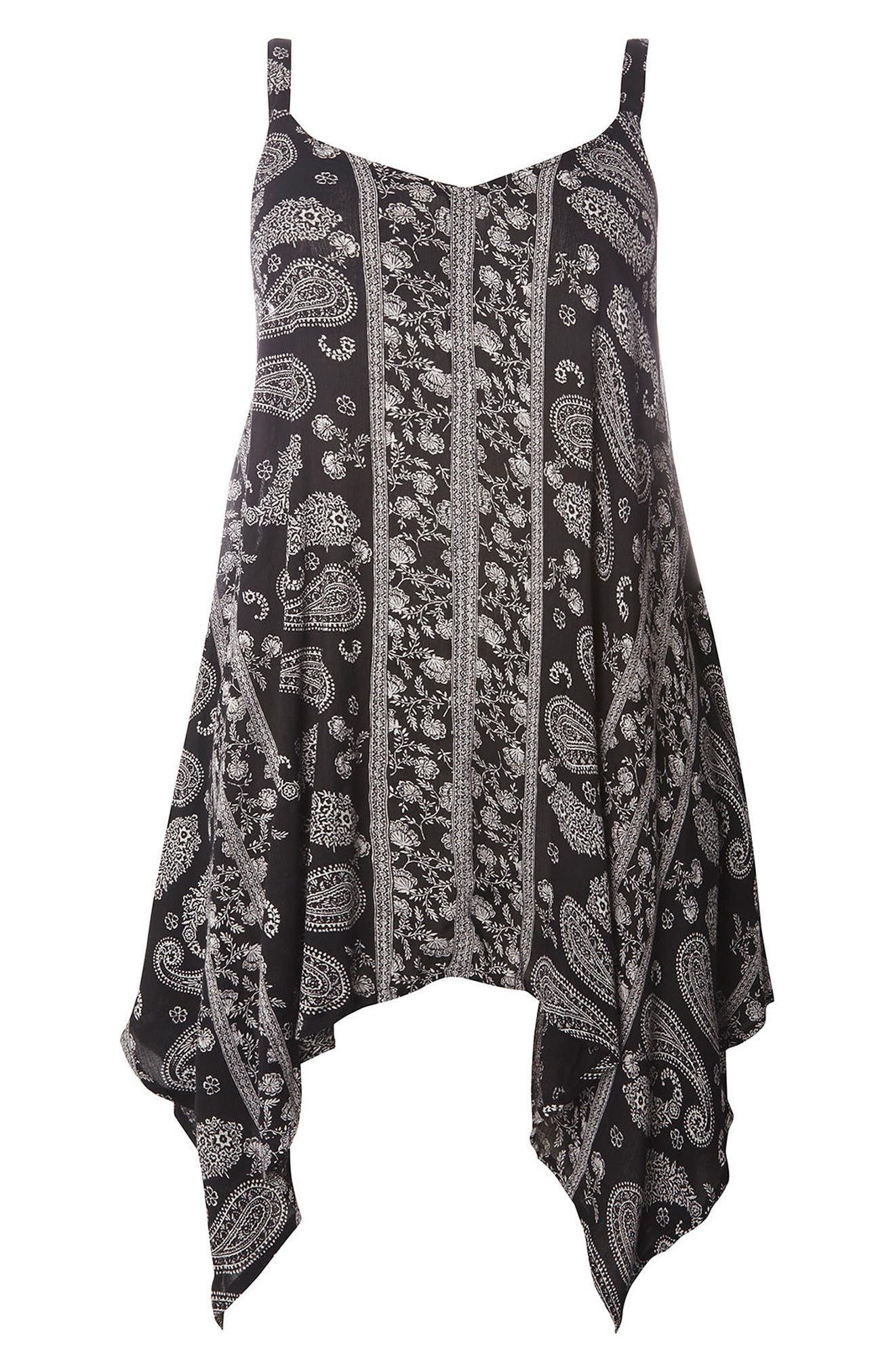 Alternate Image 5  - Evans Floral Paisley Handkerchief Hem Camisole (Plus Size)