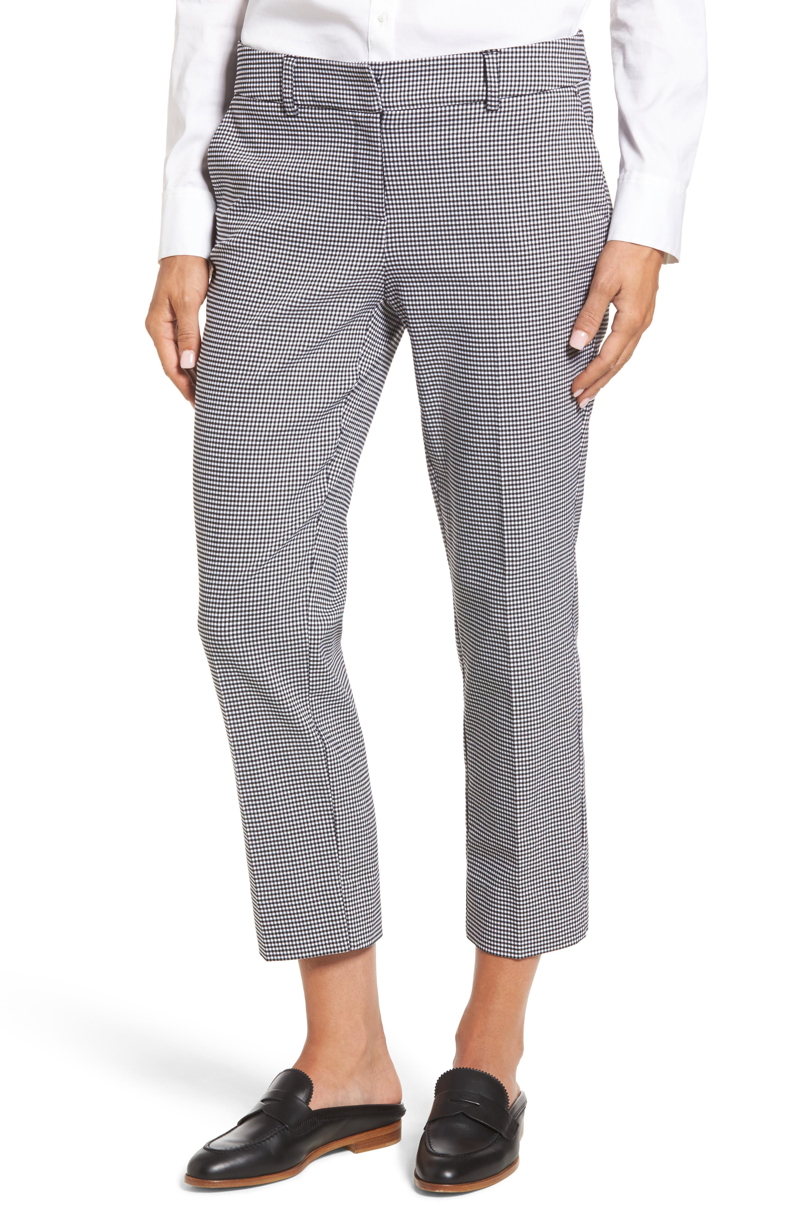 Crop Stretch Cotton Pants,                             Main thumbnail 1, color,                             Black- White Gingham
