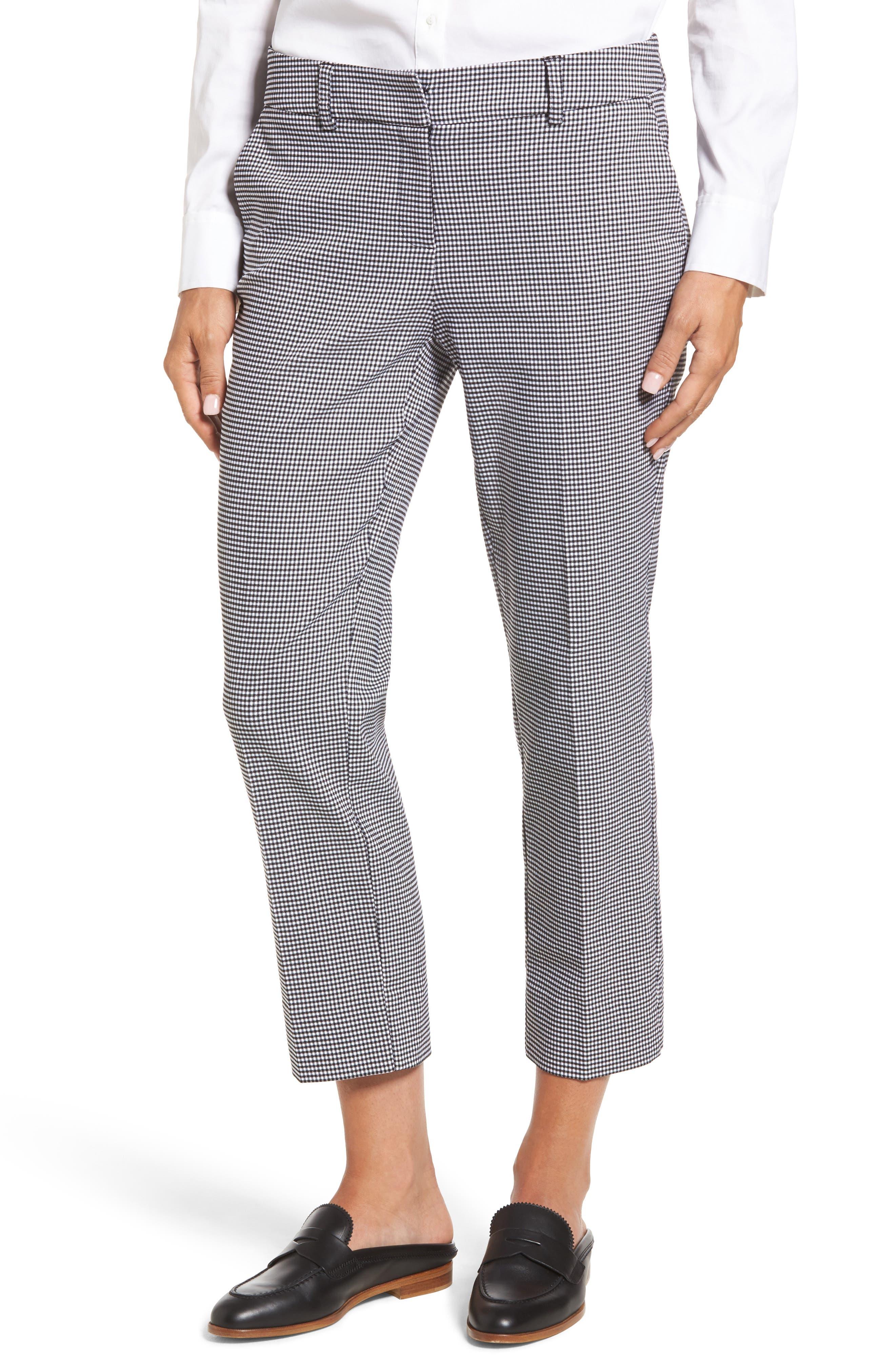 Crop Stretch Cotton Pants,                         Main,                         color, Black- White Gingham