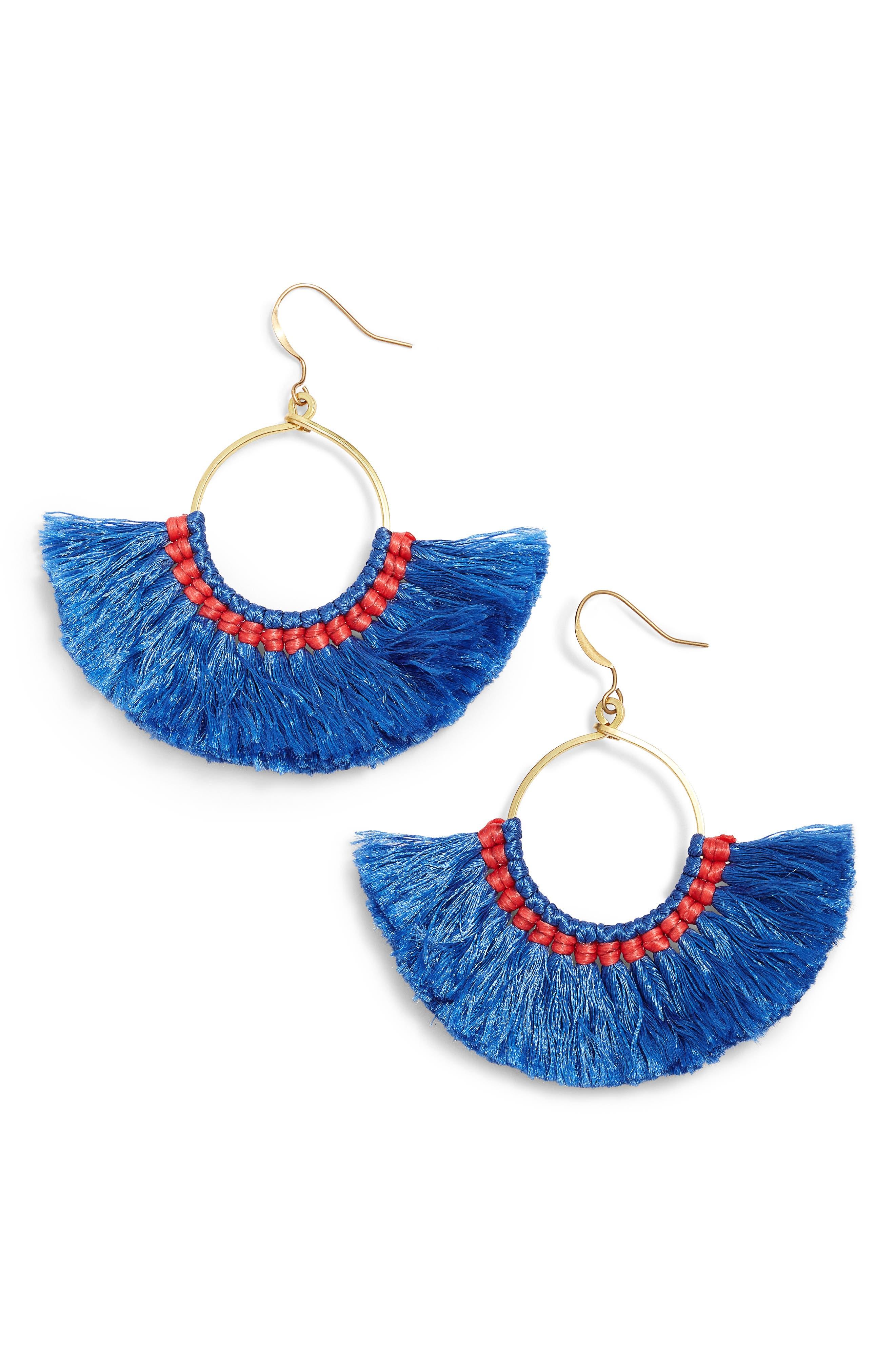 Cotton Fan Earrings,                         Main,                         color, Blue