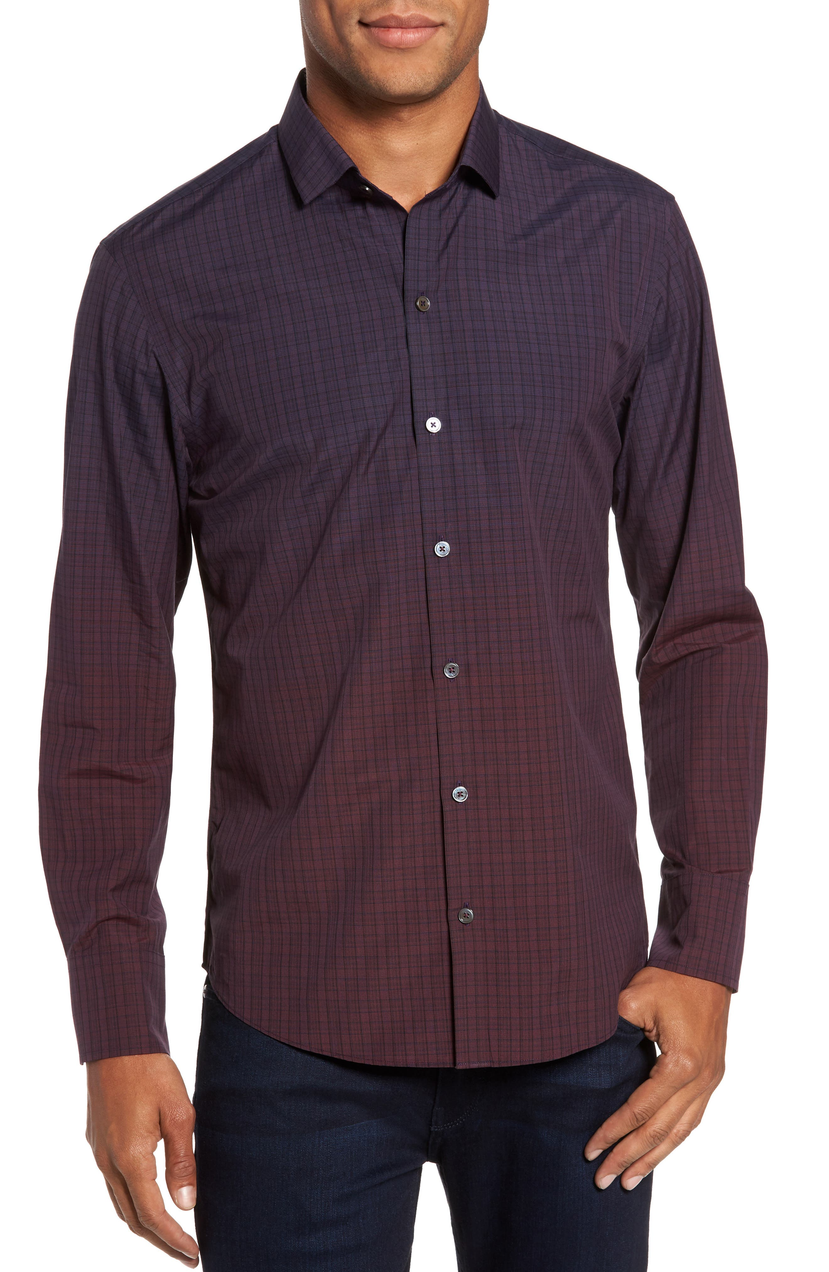 Wein Slim Fit Check Sport Shirt,                         Main,                         color, Wine