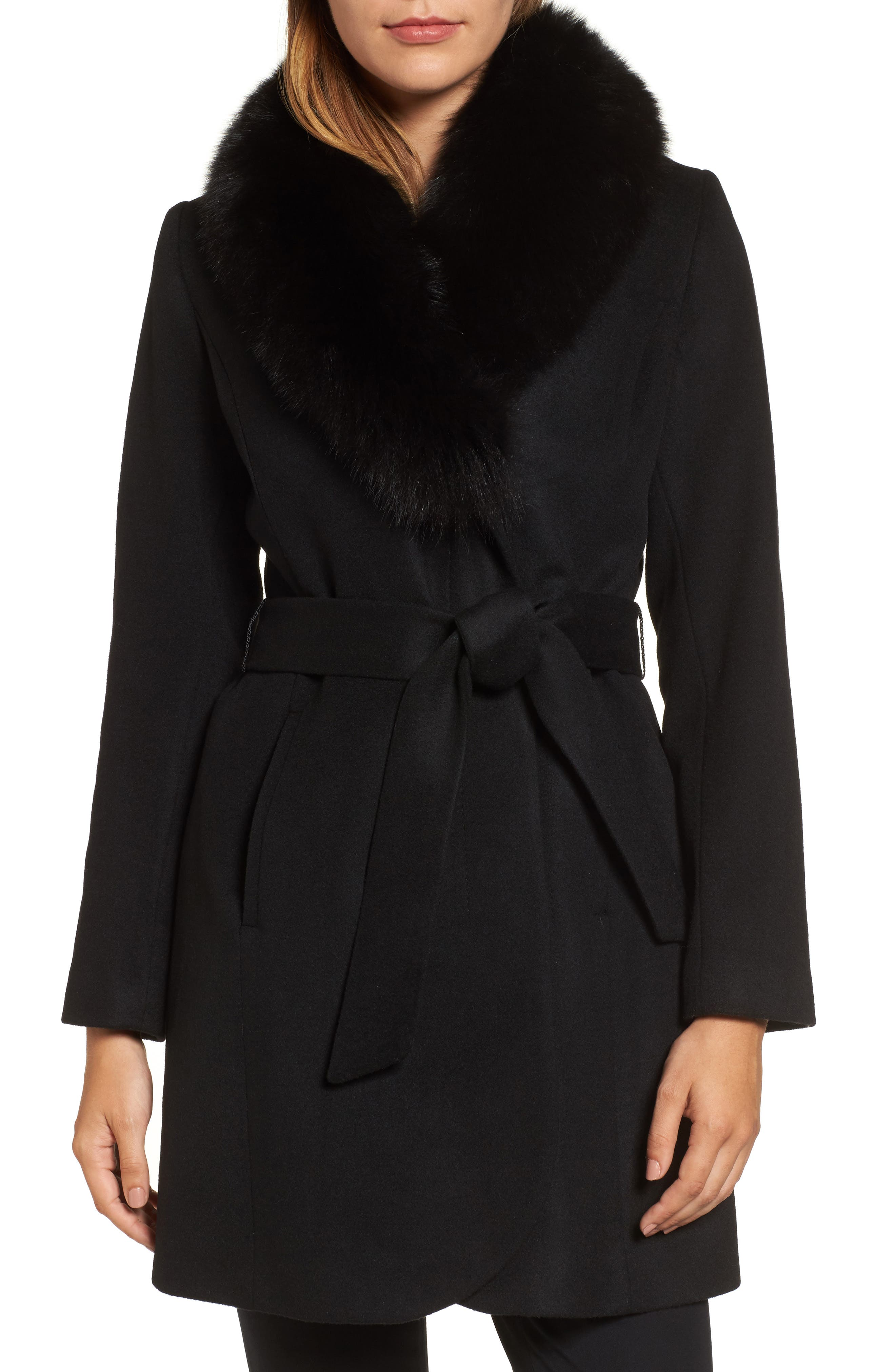 George Simonton Couture Genuine Fox Fur Collar Wrap Coat