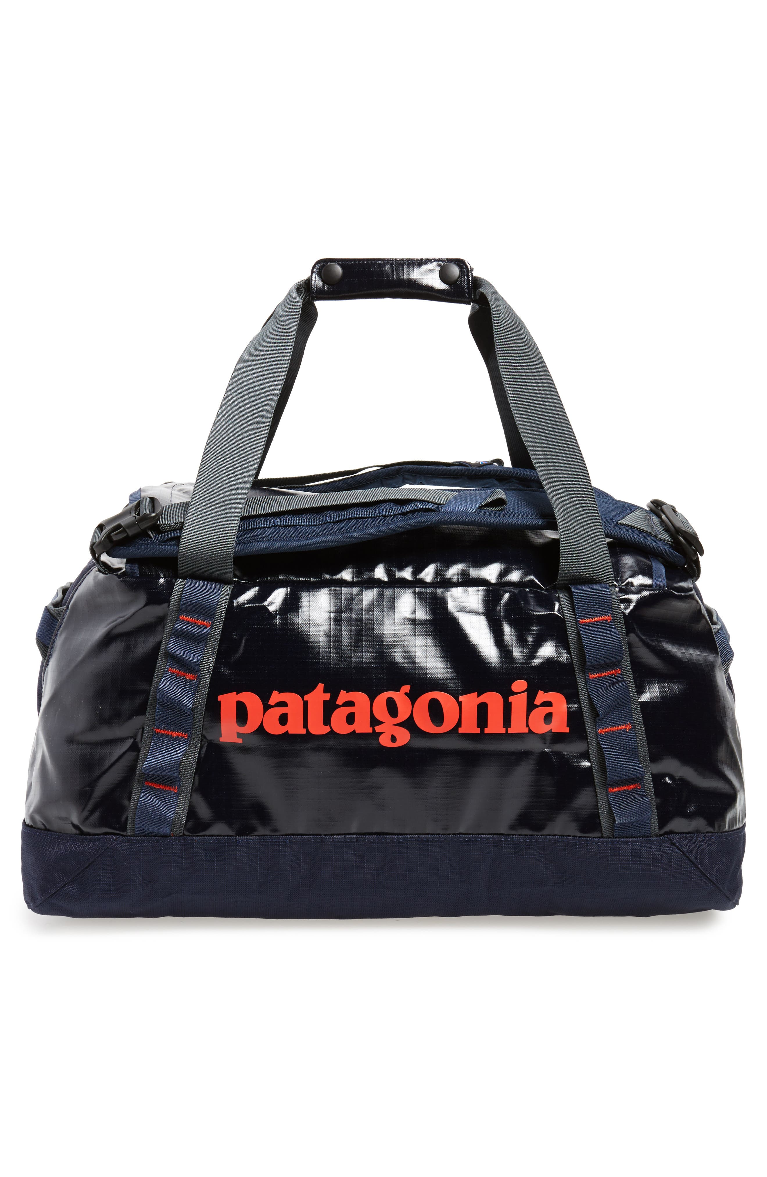 Black Hole Water Repellent Duffel Bag,                             Alternate thumbnail 2, color,                             Navy Blue W/ Paintbrush Red