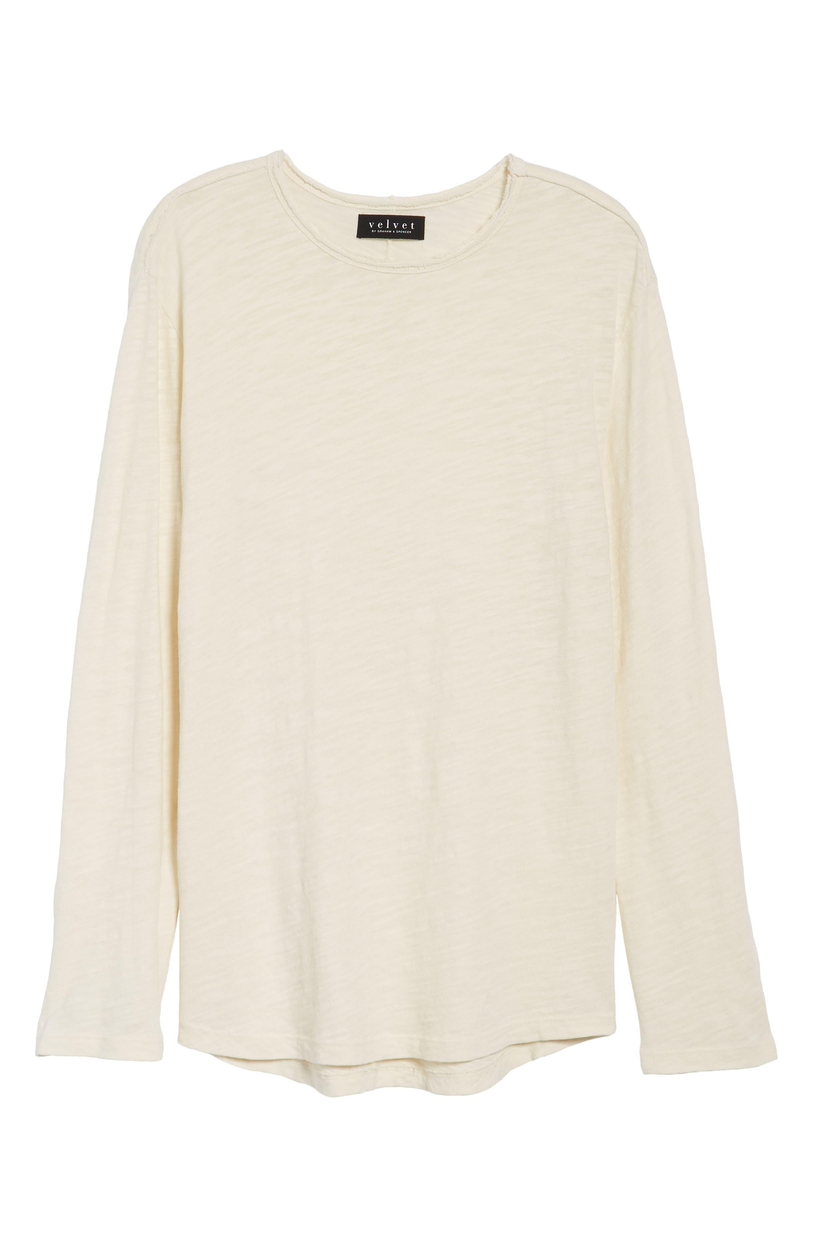 Slub Long Sleeve T-Shirt,                             Alternate thumbnail 6, color,                             Ecru