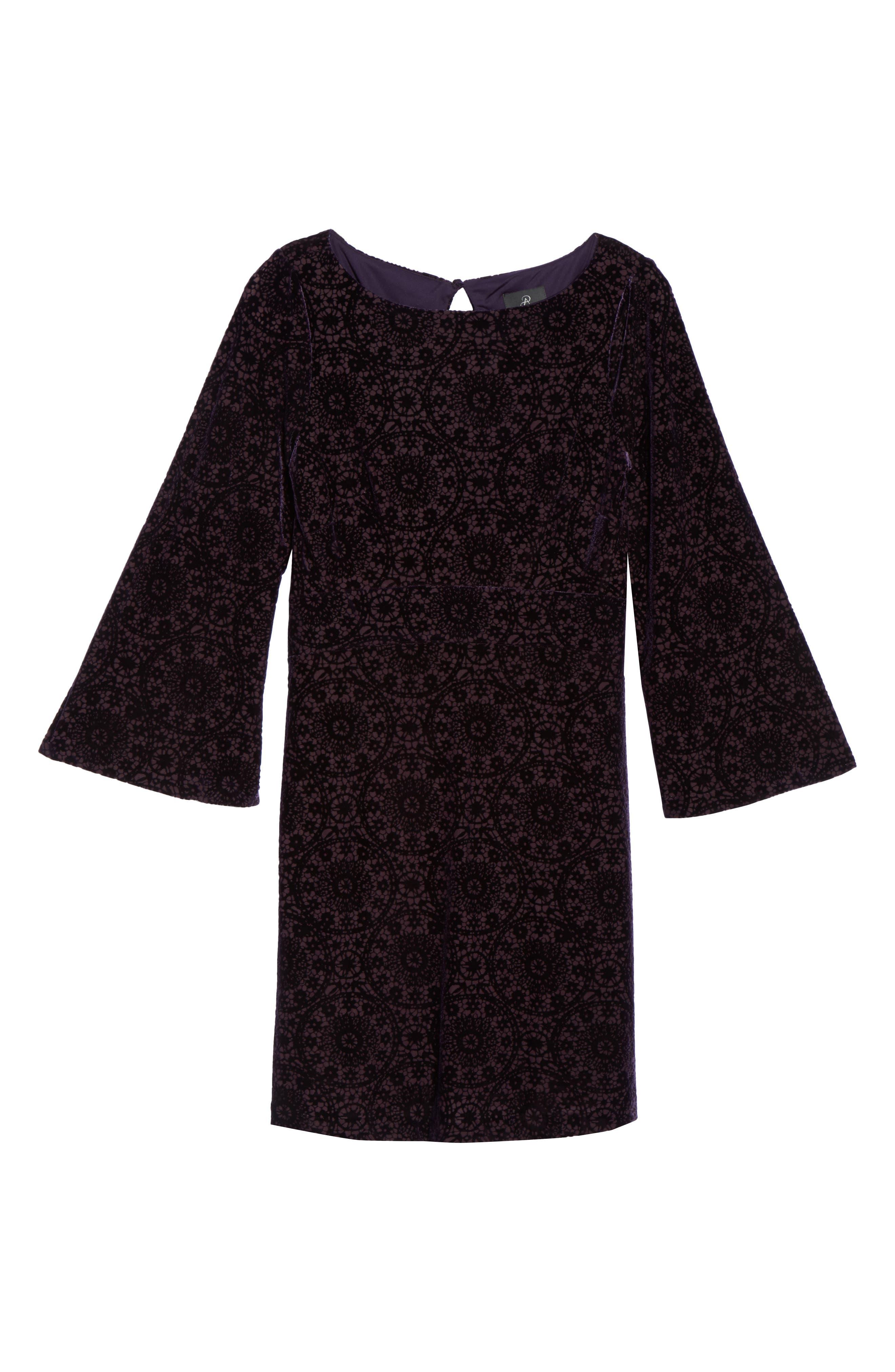 Velvet Burnout Bell Sleeve Dress,                             Alternate thumbnail 6, color,                             Eggplant