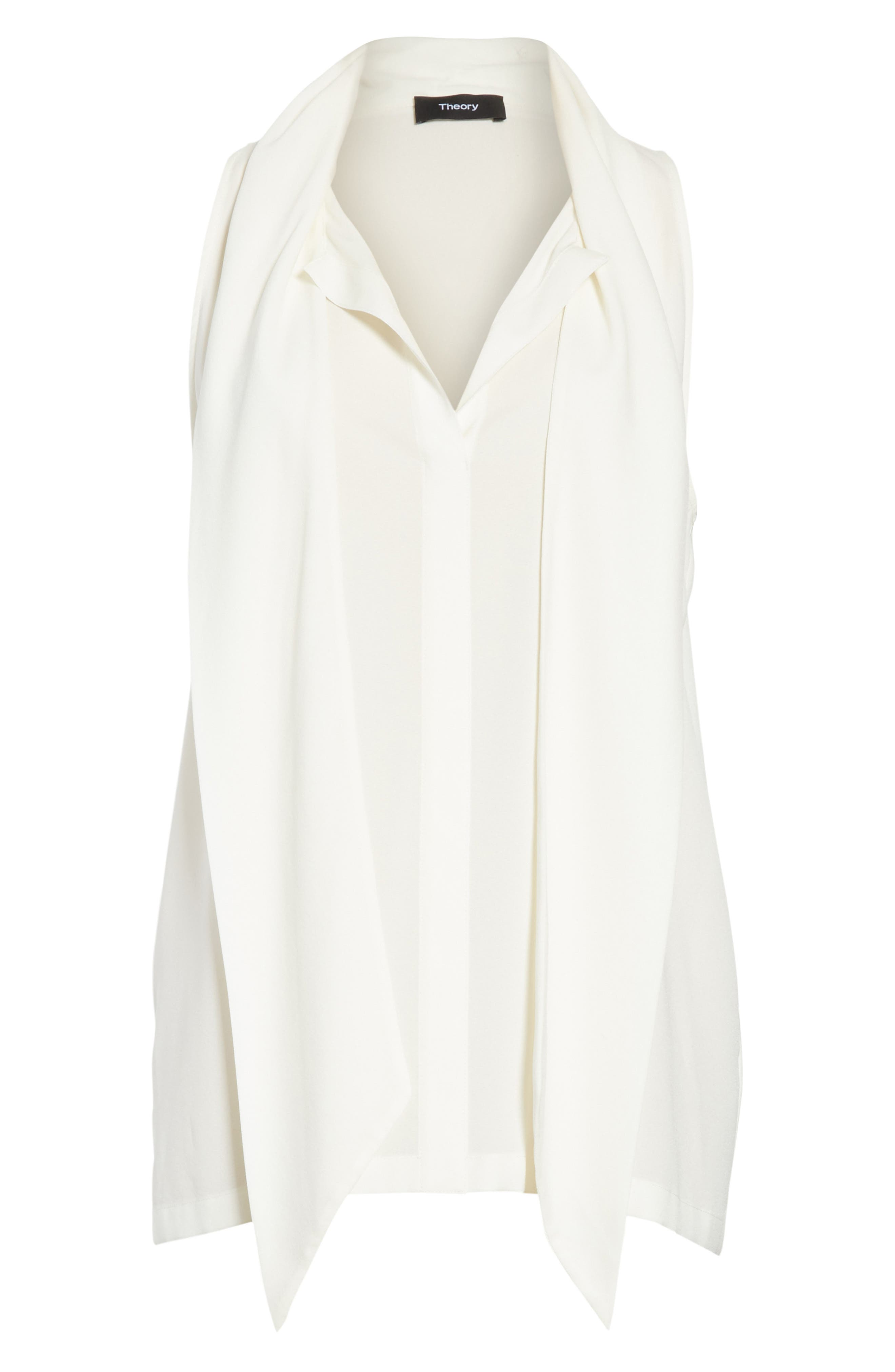 Scarf Neck Stretch Silk Blouse,                             Alternate thumbnail 6, color,                             Ivory