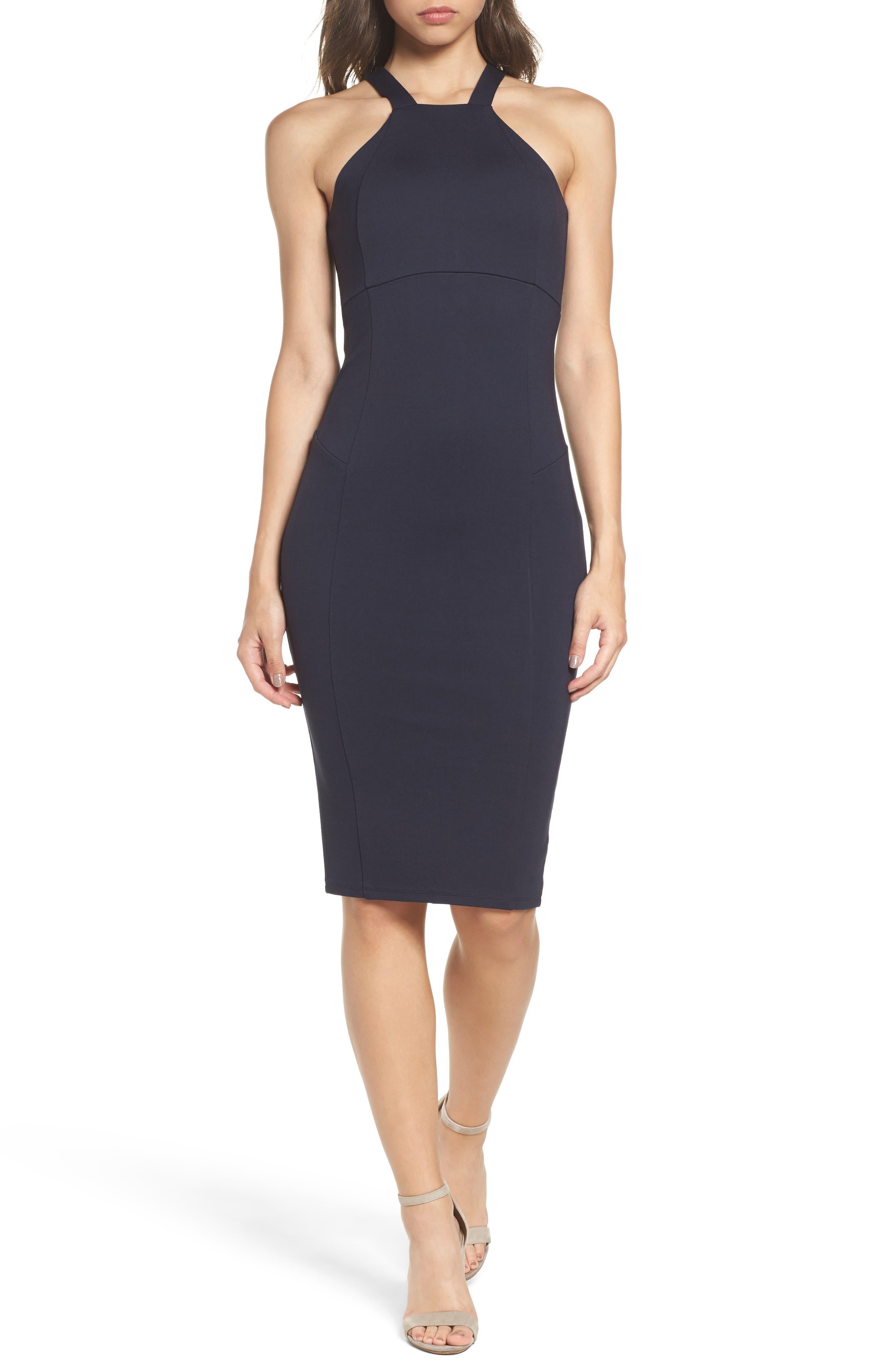 Betina Halter Body-Con Dress,                         Main,                         color, Navy