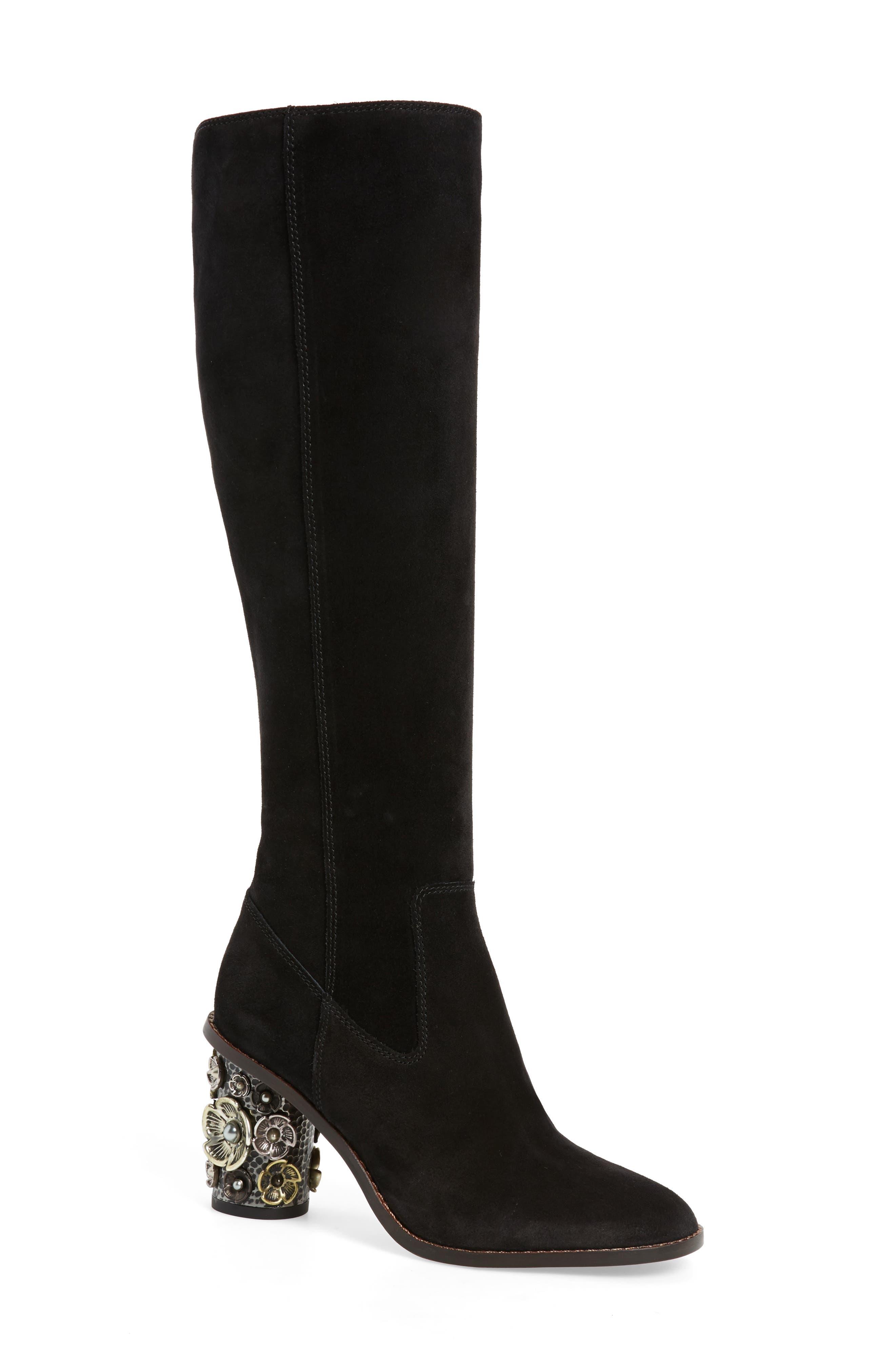 Tea Rose Heel Boot,                             Main thumbnail 1, color,                             Black Leather