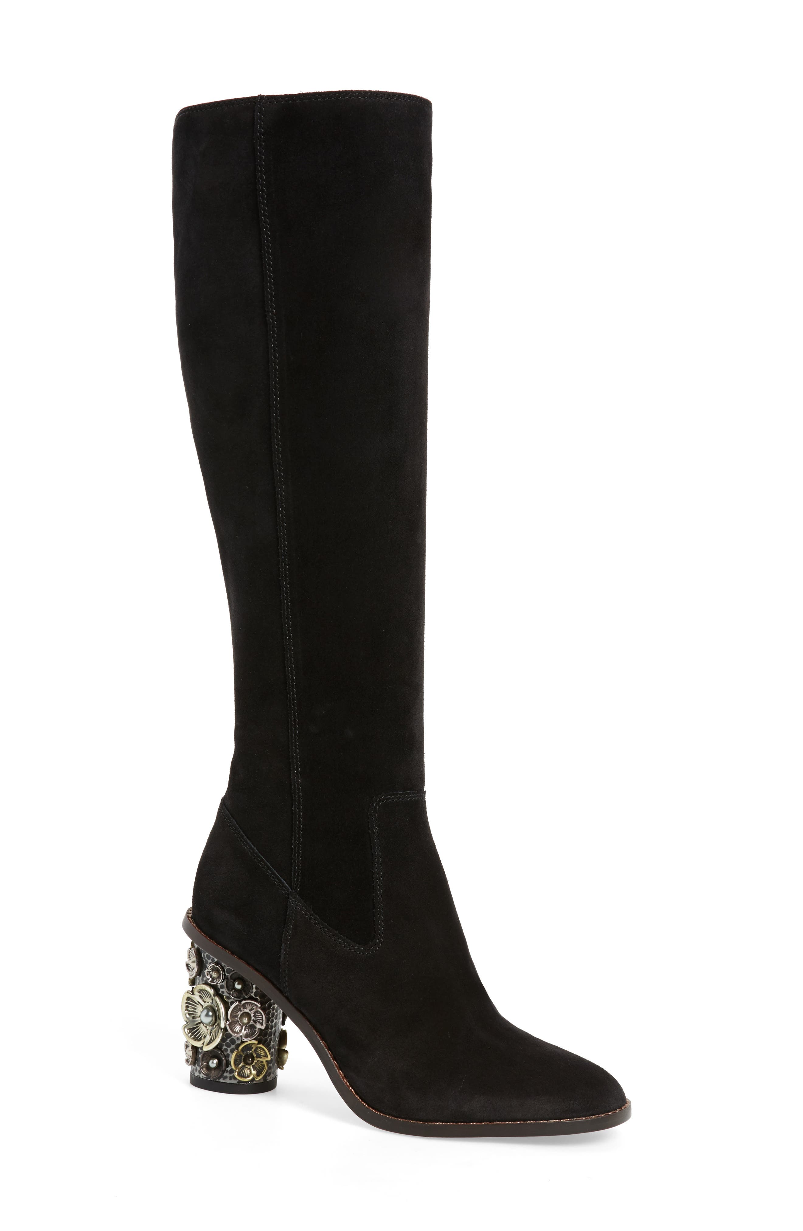 Tea Rose Heel Boot,                         Main,                         color, Black Leather