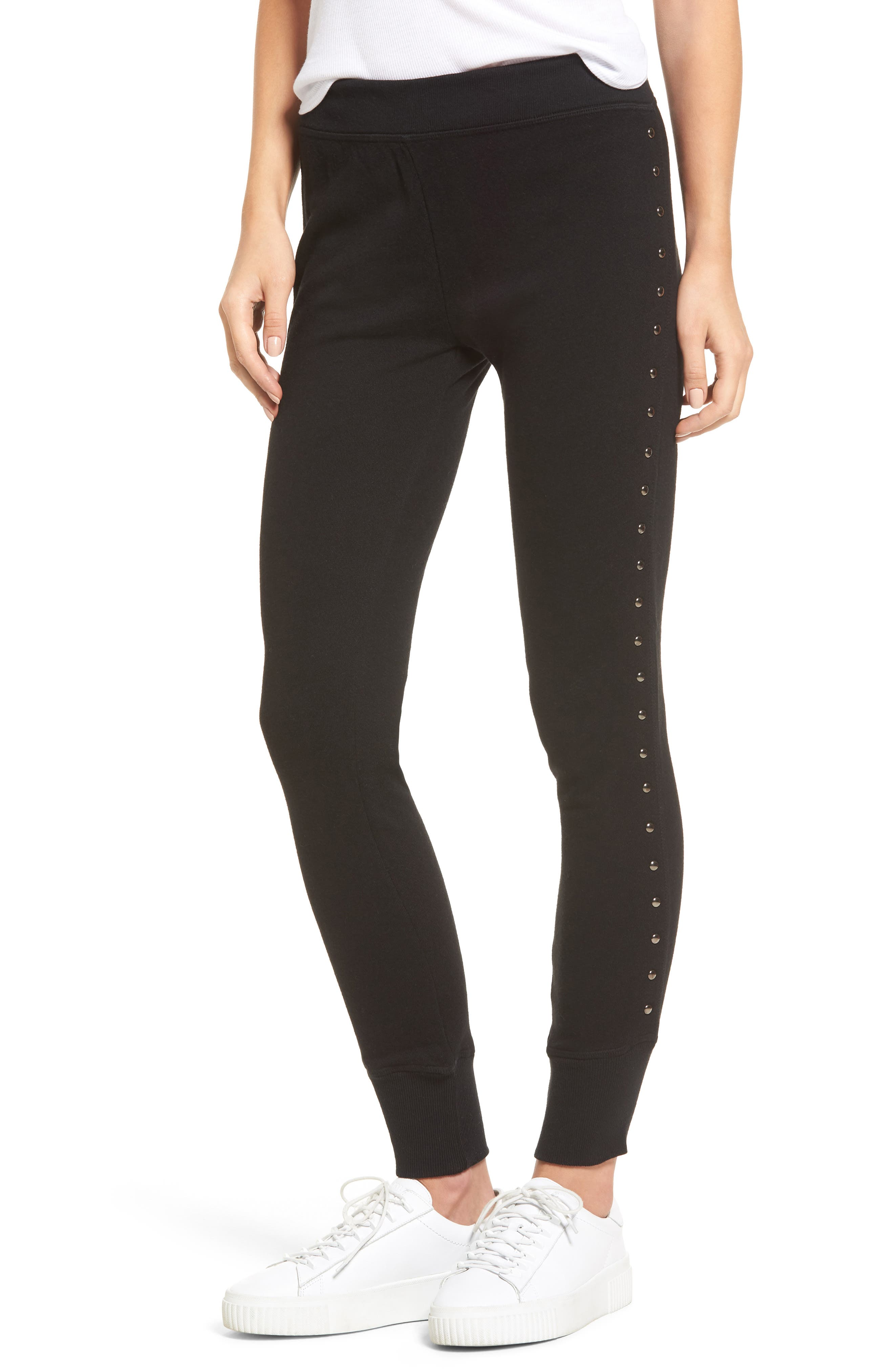 Joss Studded Sweatpants,                         Main,                         color, Black Cat