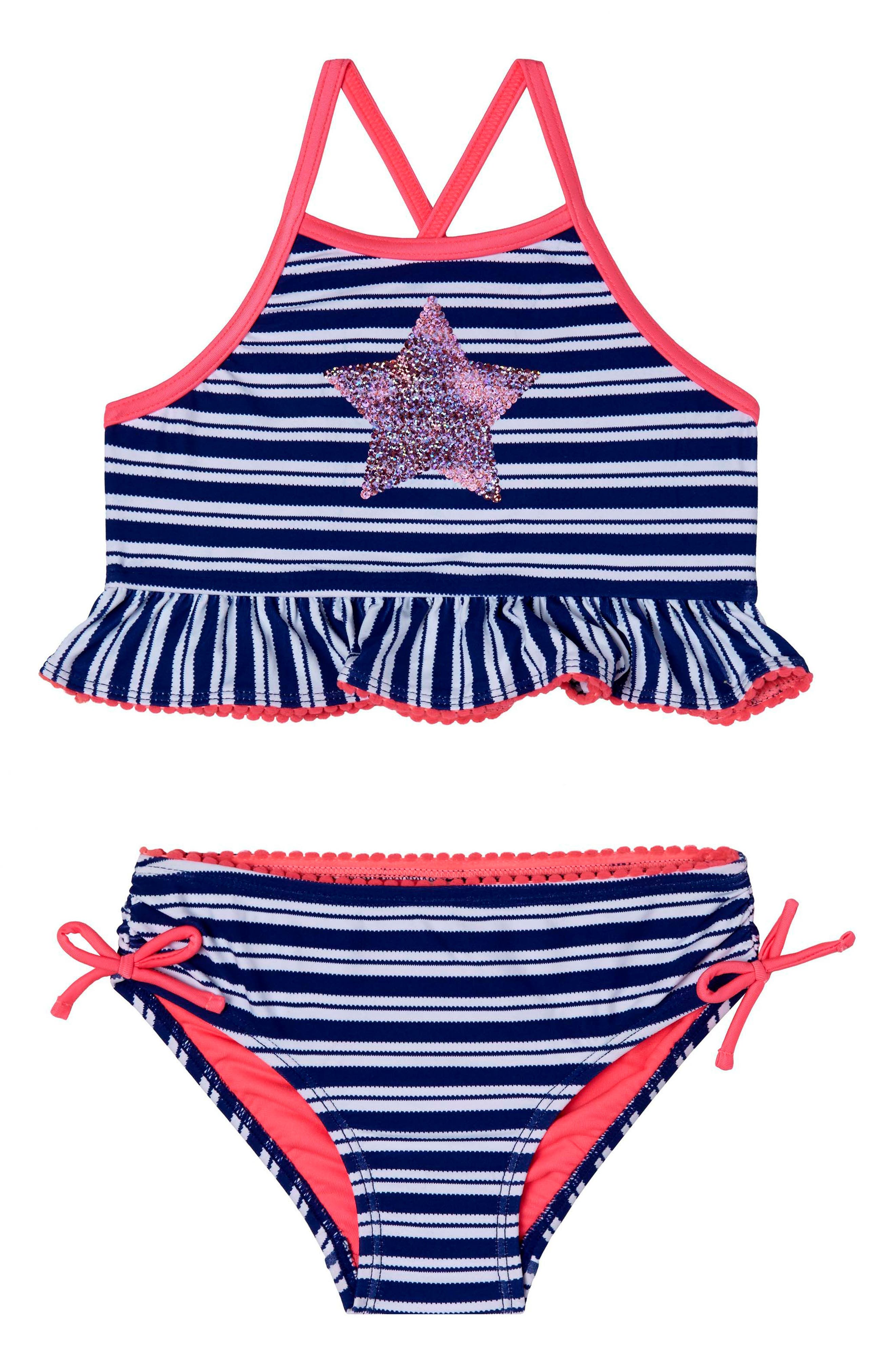 Hula Star Retro StripeTwo-Piece Swimsuit (Toddler Girls & Little Girls)