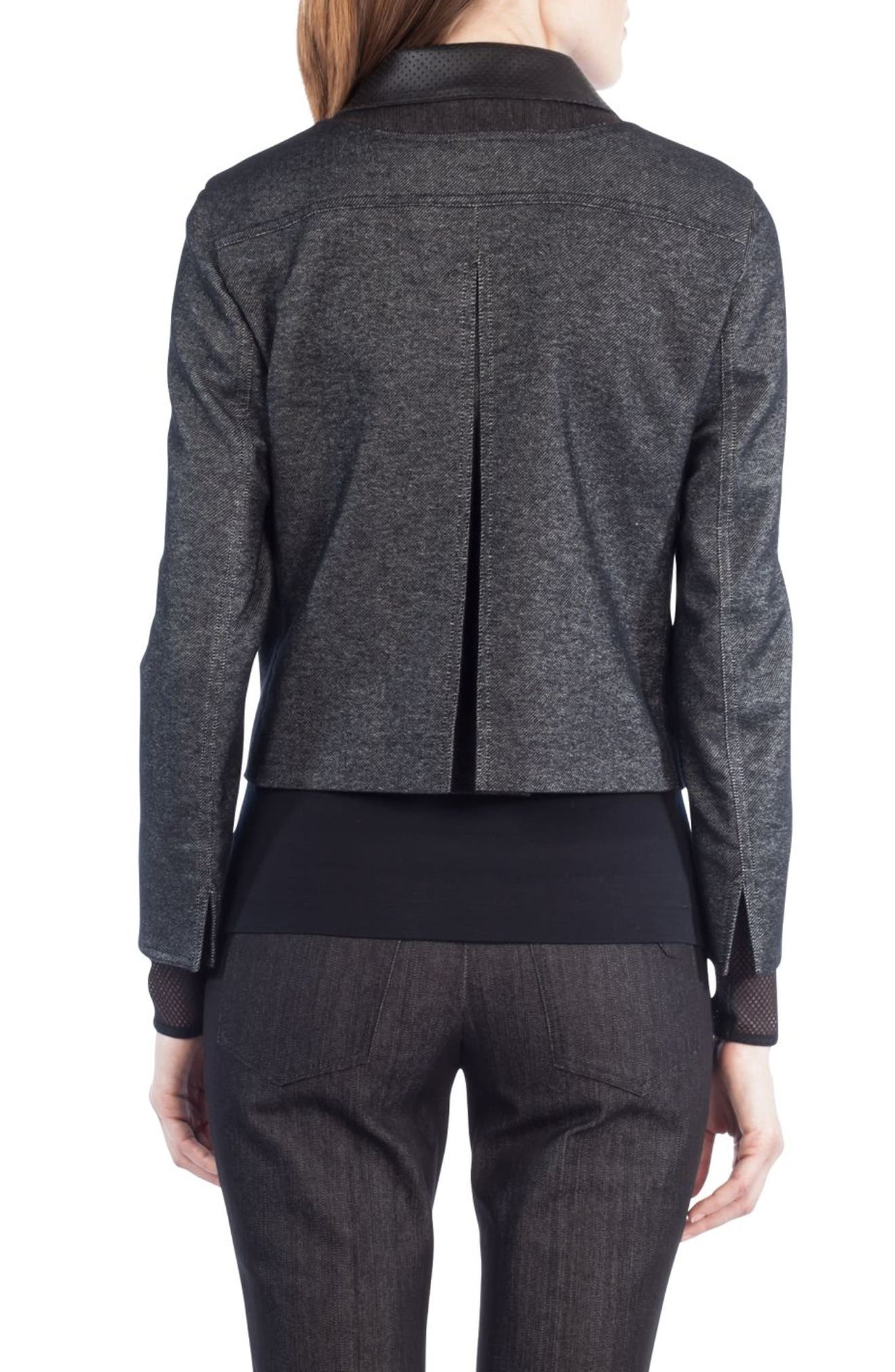Leather Trim Crop Denim Jacket,                             Alternate thumbnail 2, color,                             Black Denim