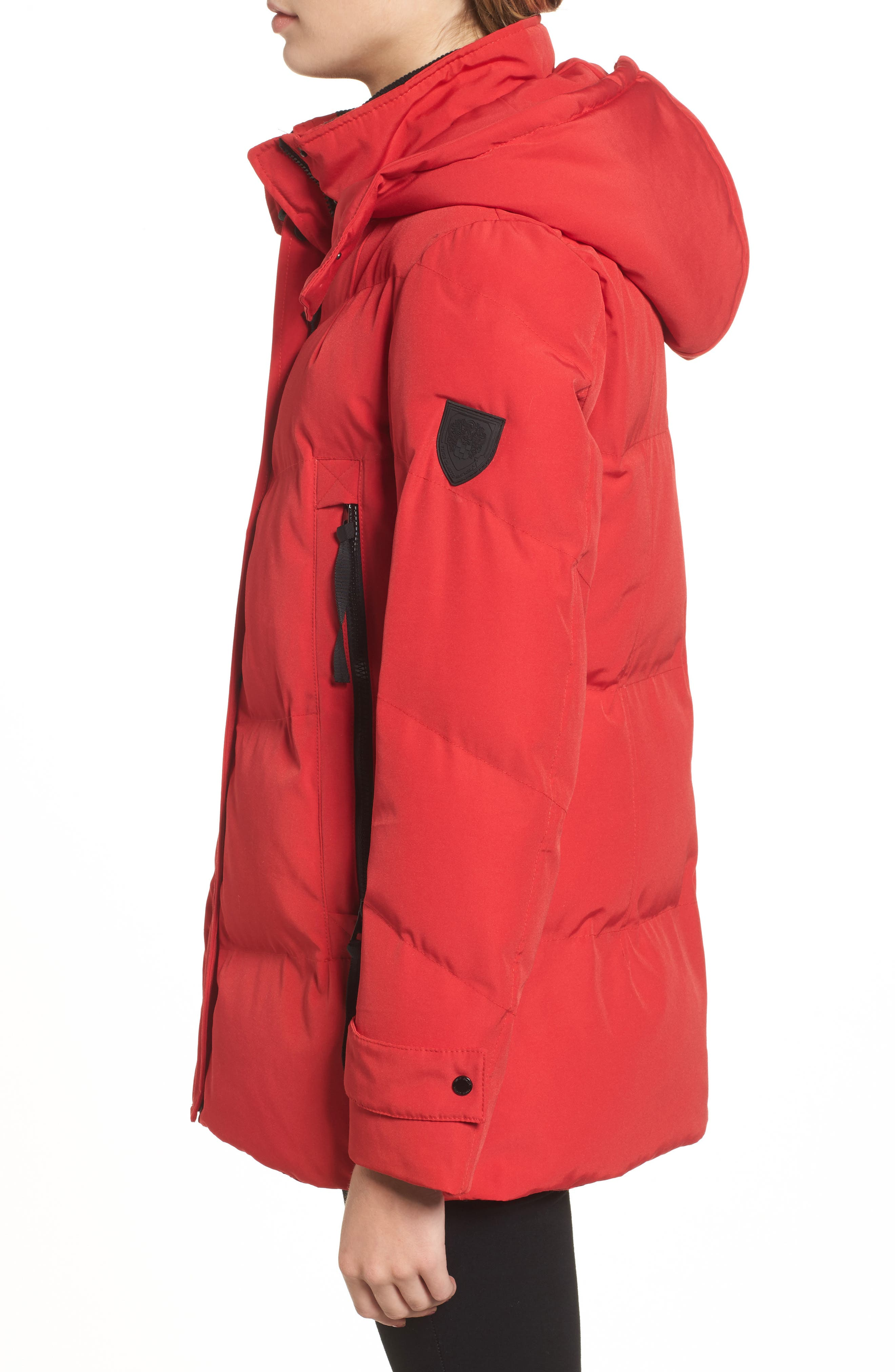 Quilted Puffer Jacket,                             Alternate thumbnail 3, color,                             Red