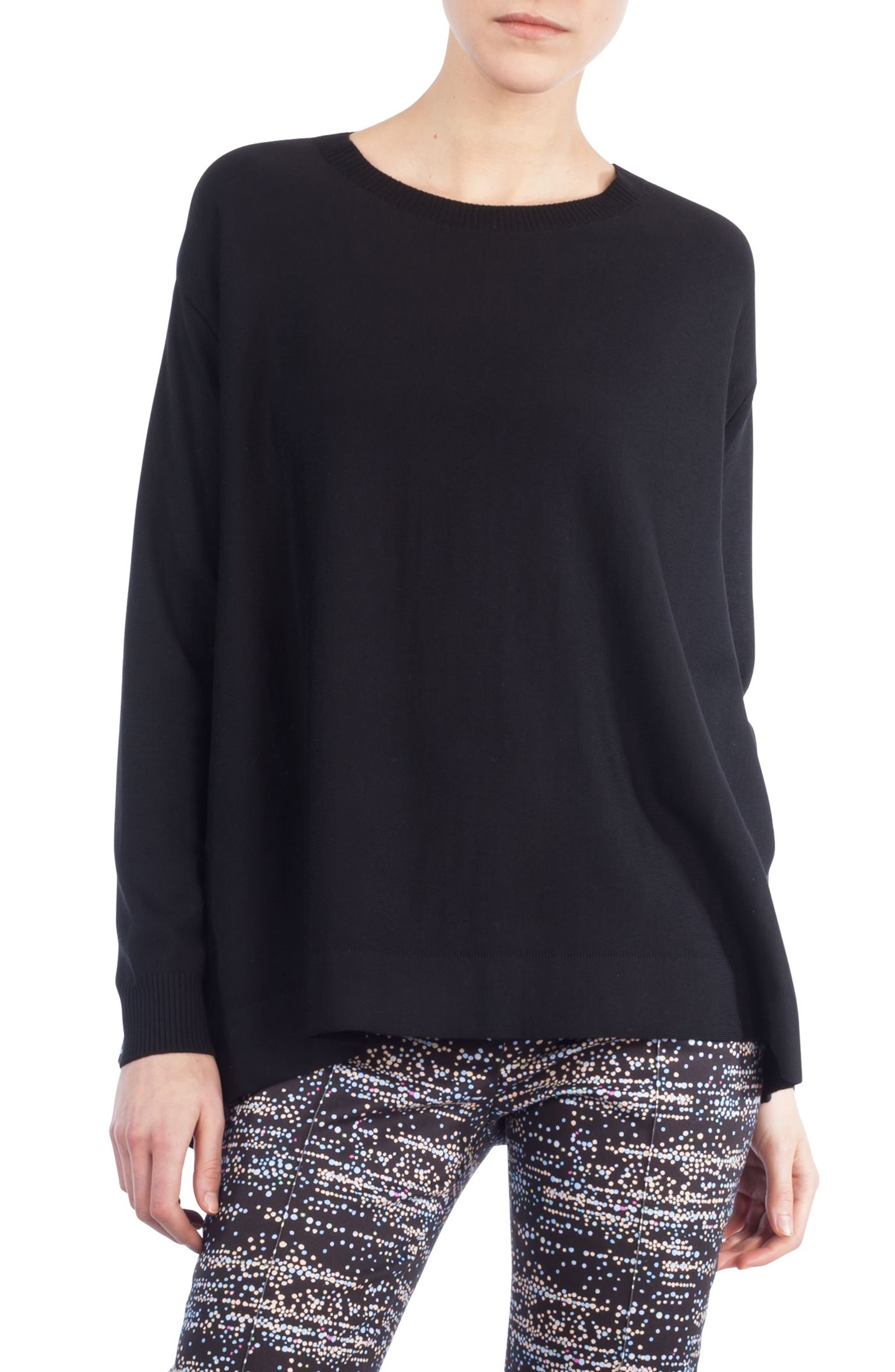 Twilight Print Wool Pullover,                         Main,                         color, Black/ Multicolor