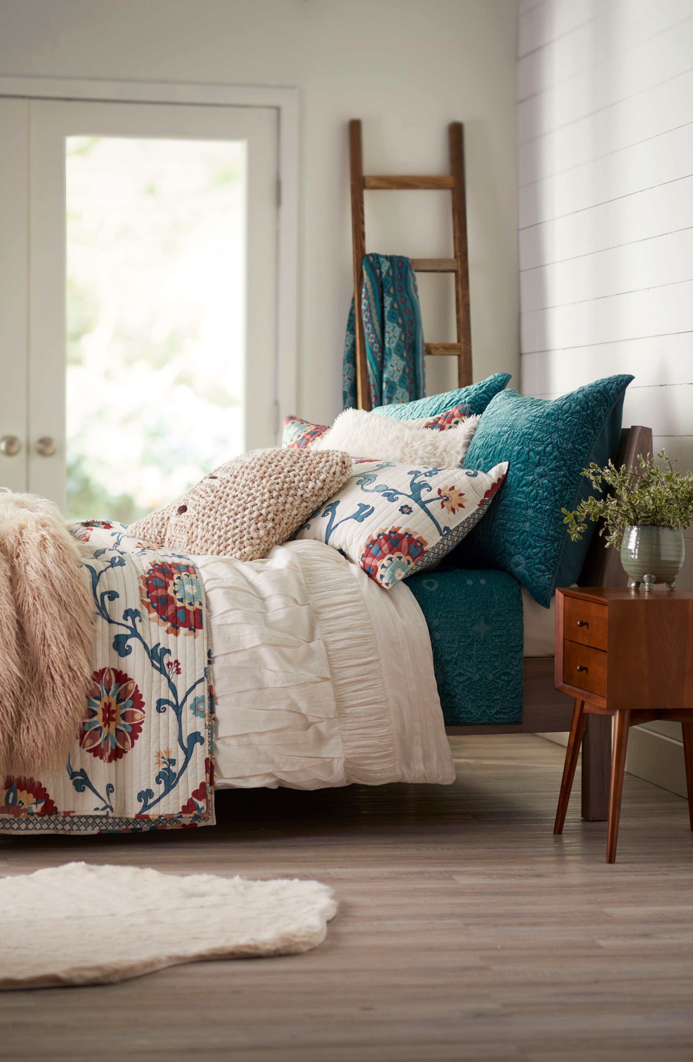 Nordstrom at Home Mixed Texture Duvet, Washing Velvet Quilt & Levtex Folk Art Quilt Bedding Collection
