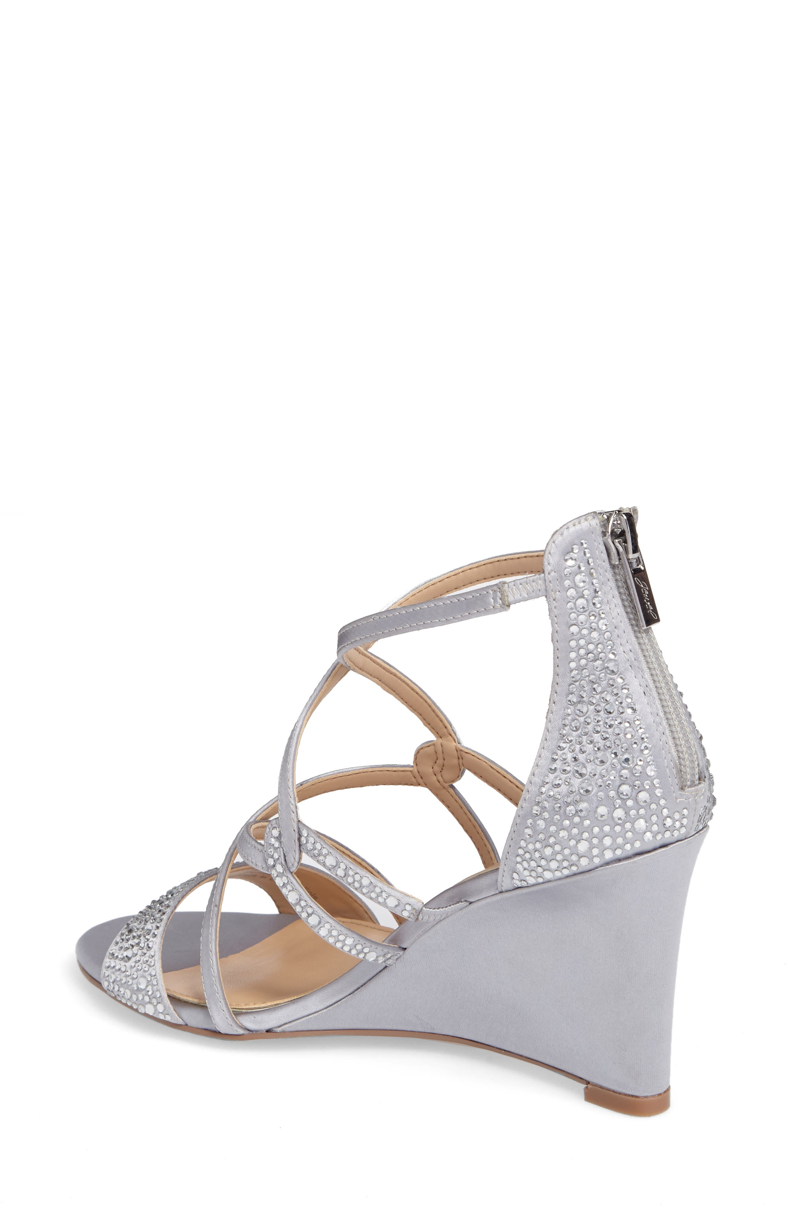 Ally II Embellished Wedge Sandal,                             Alternate thumbnail 2, color,                             Silver Satin