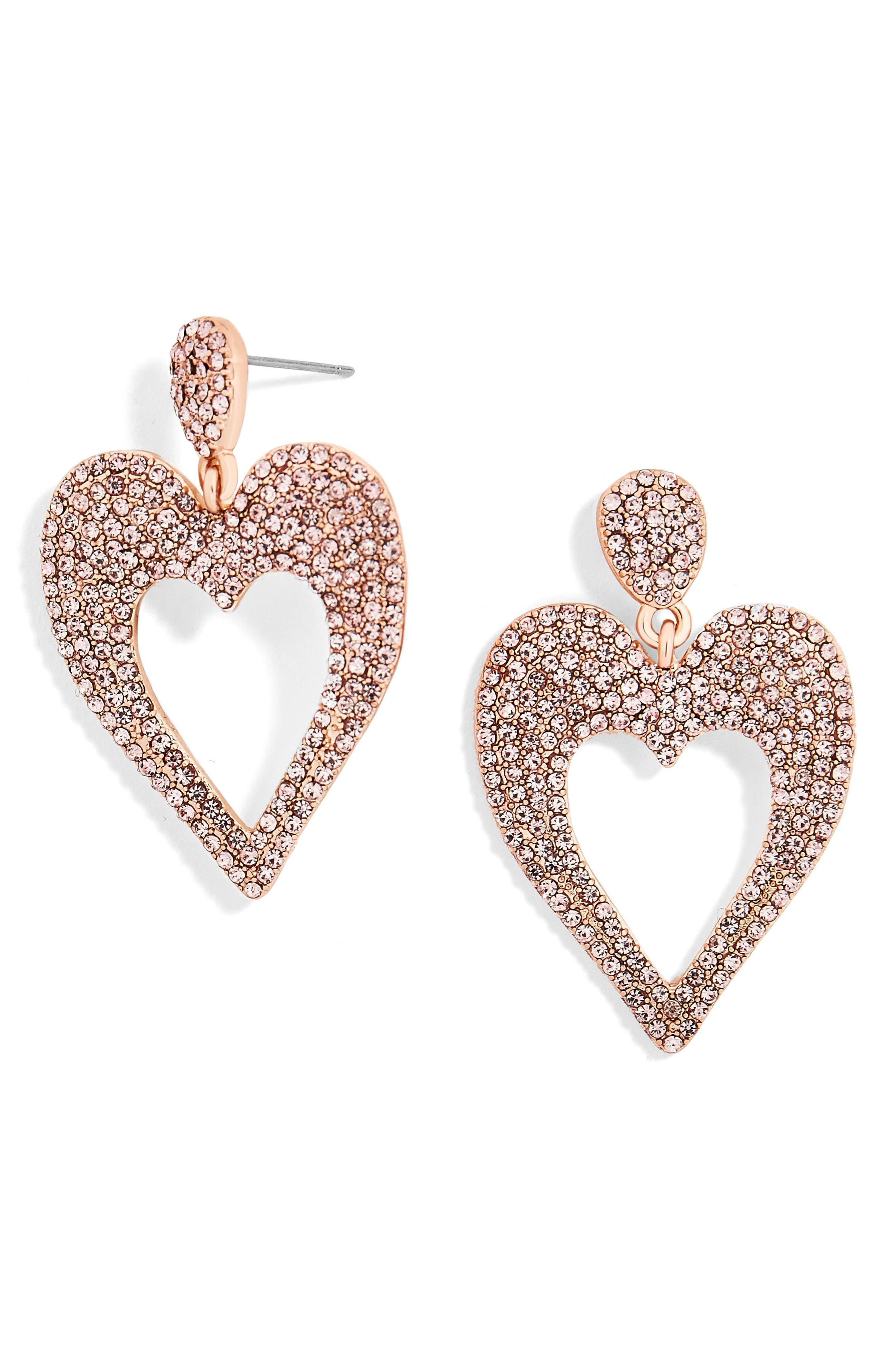 Amara Pavé Heart Drop Earrings,                             Main thumbnail 1, color,                             Rose Gold