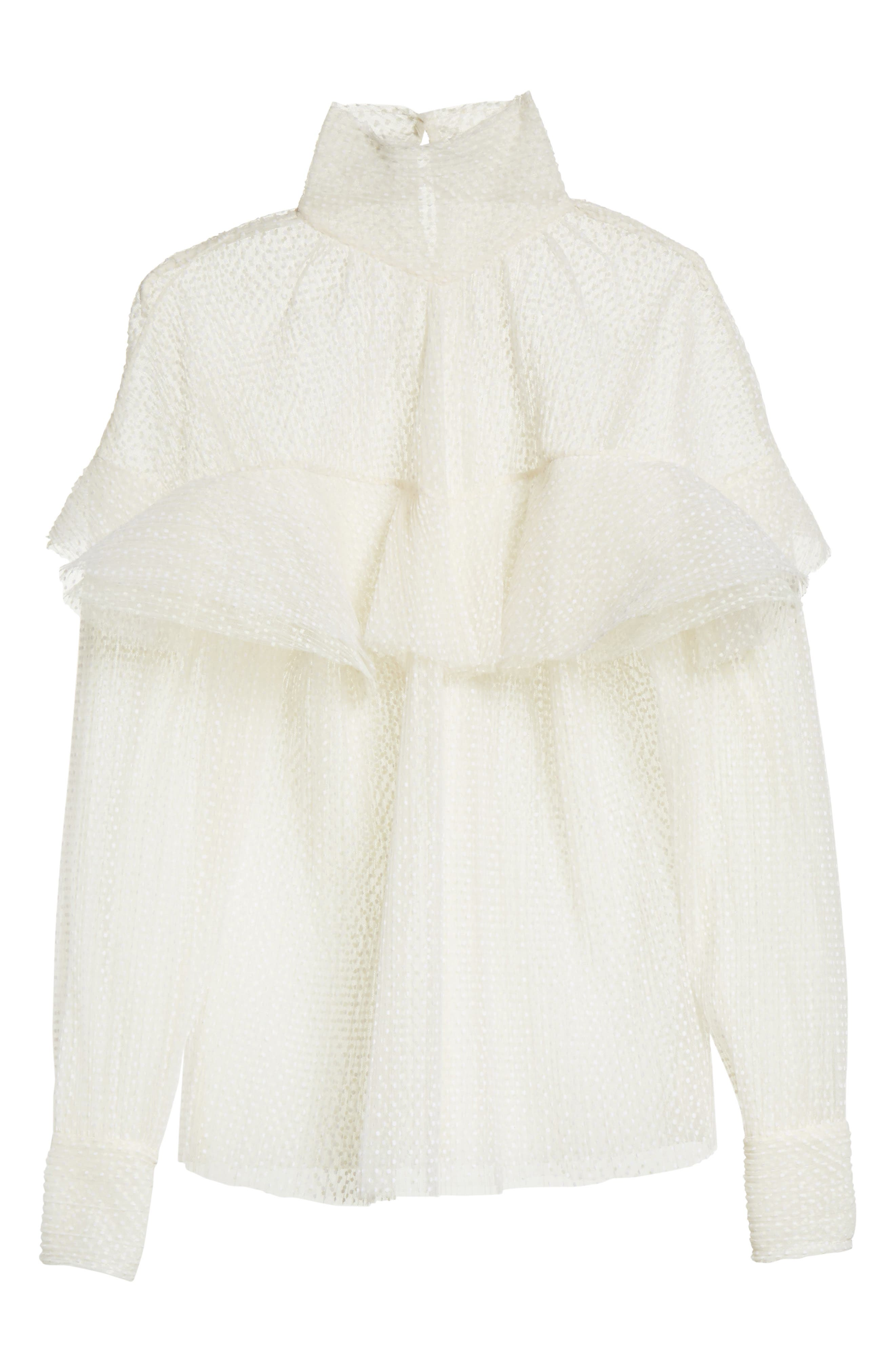 A.W.A.K.E Frill Double Layered Tulle Top,                             Alternate thumbnail 6, color,                             Cream