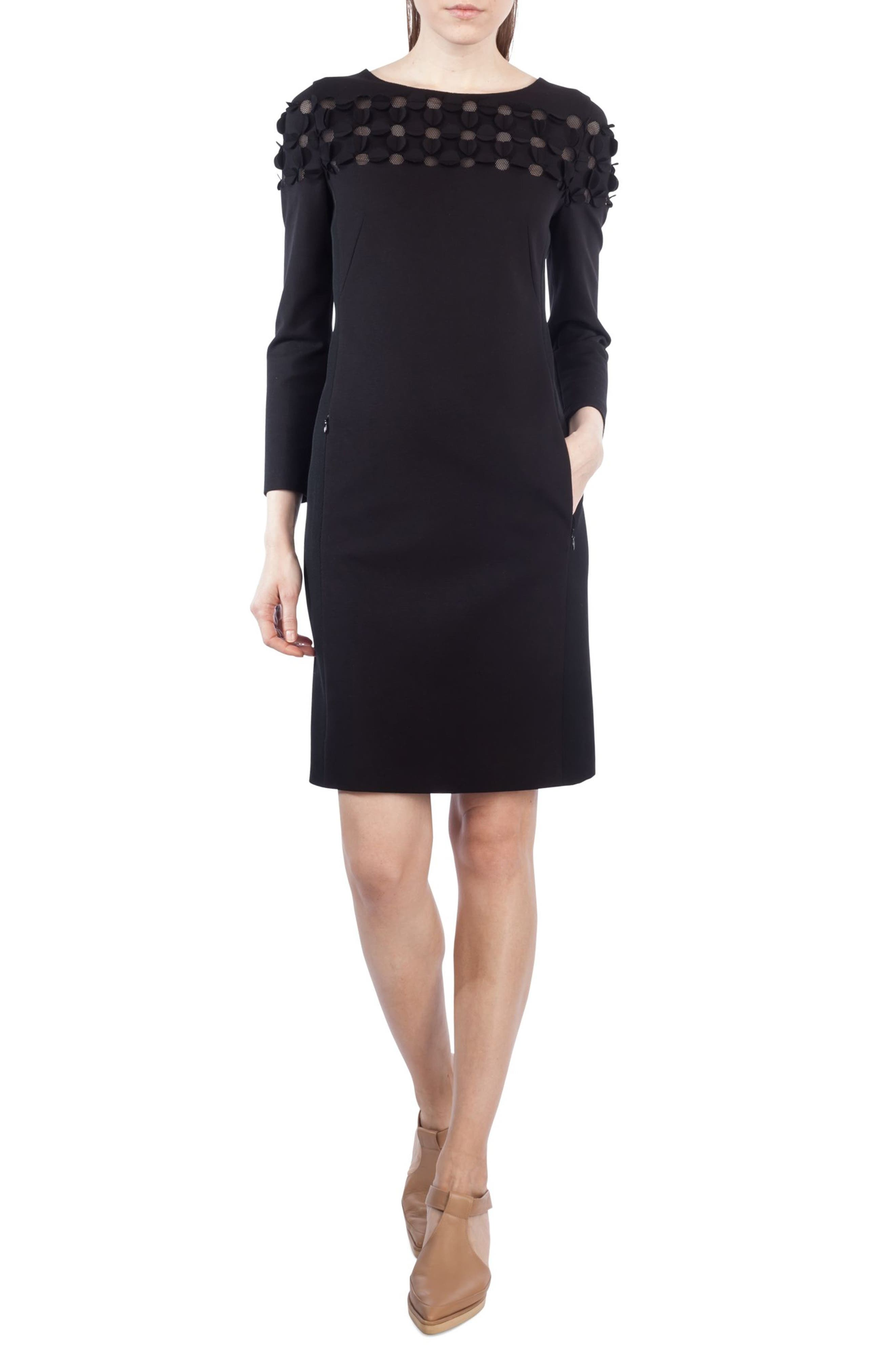 Cutout Dot Shift Dress,                             Main thumbnail 1, color,                             Black
