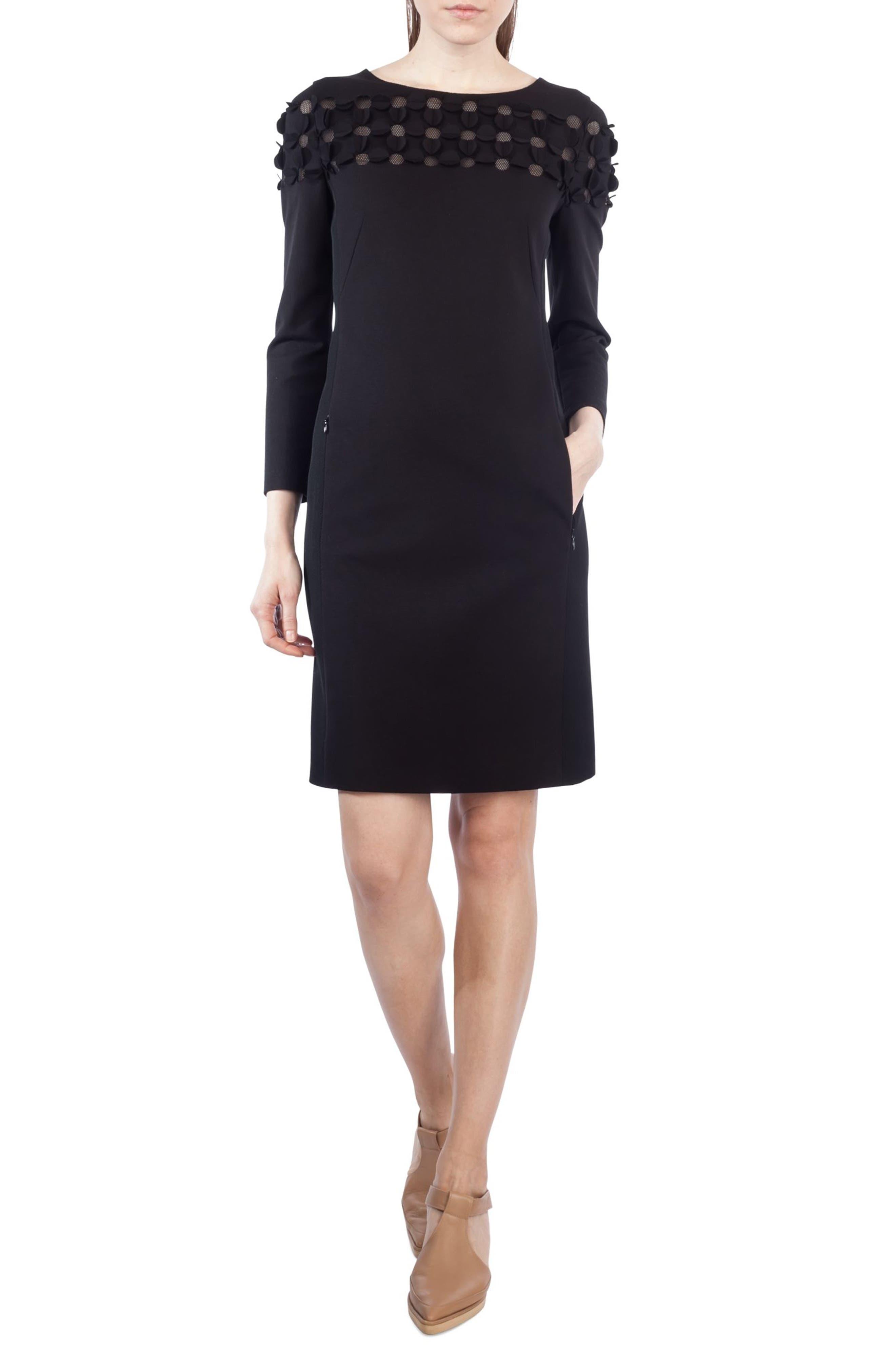 Cutout Dot Shift Dress,                         Main,                         color, Black