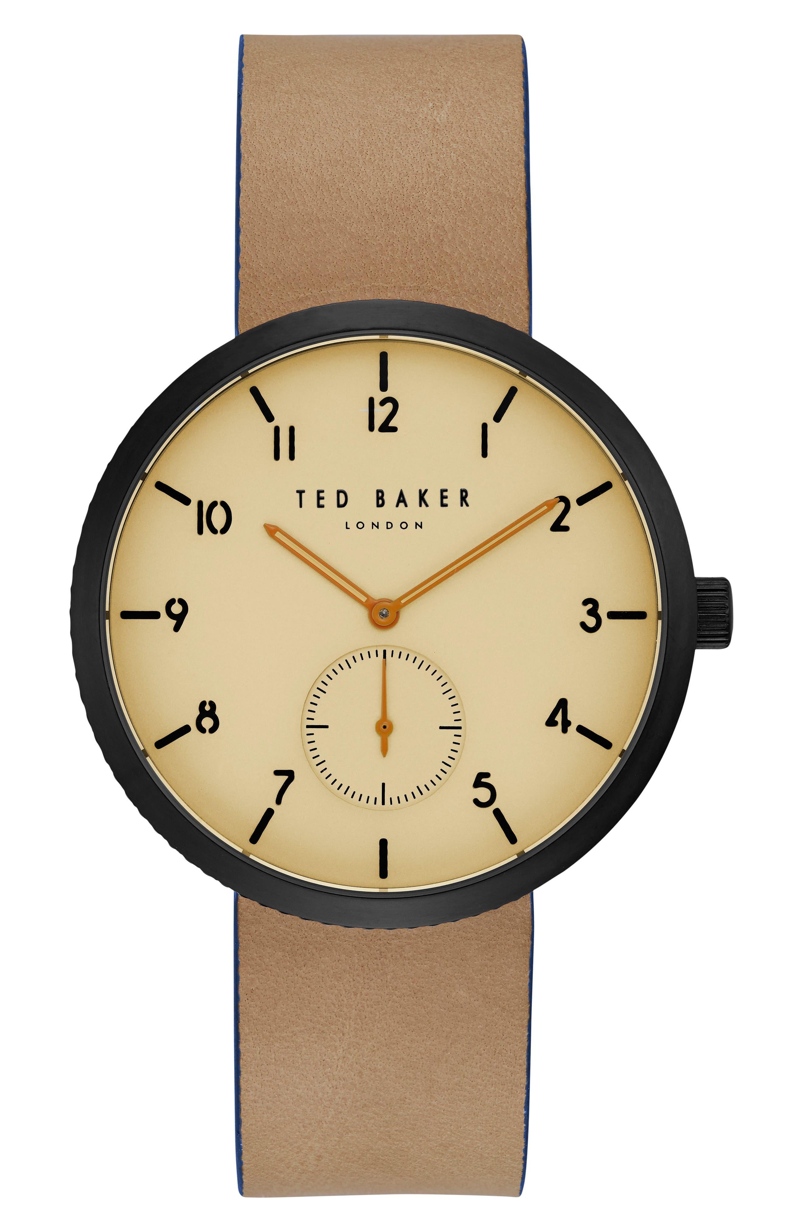 Ted Baker London Josh Leather Strap Watch, 42mm