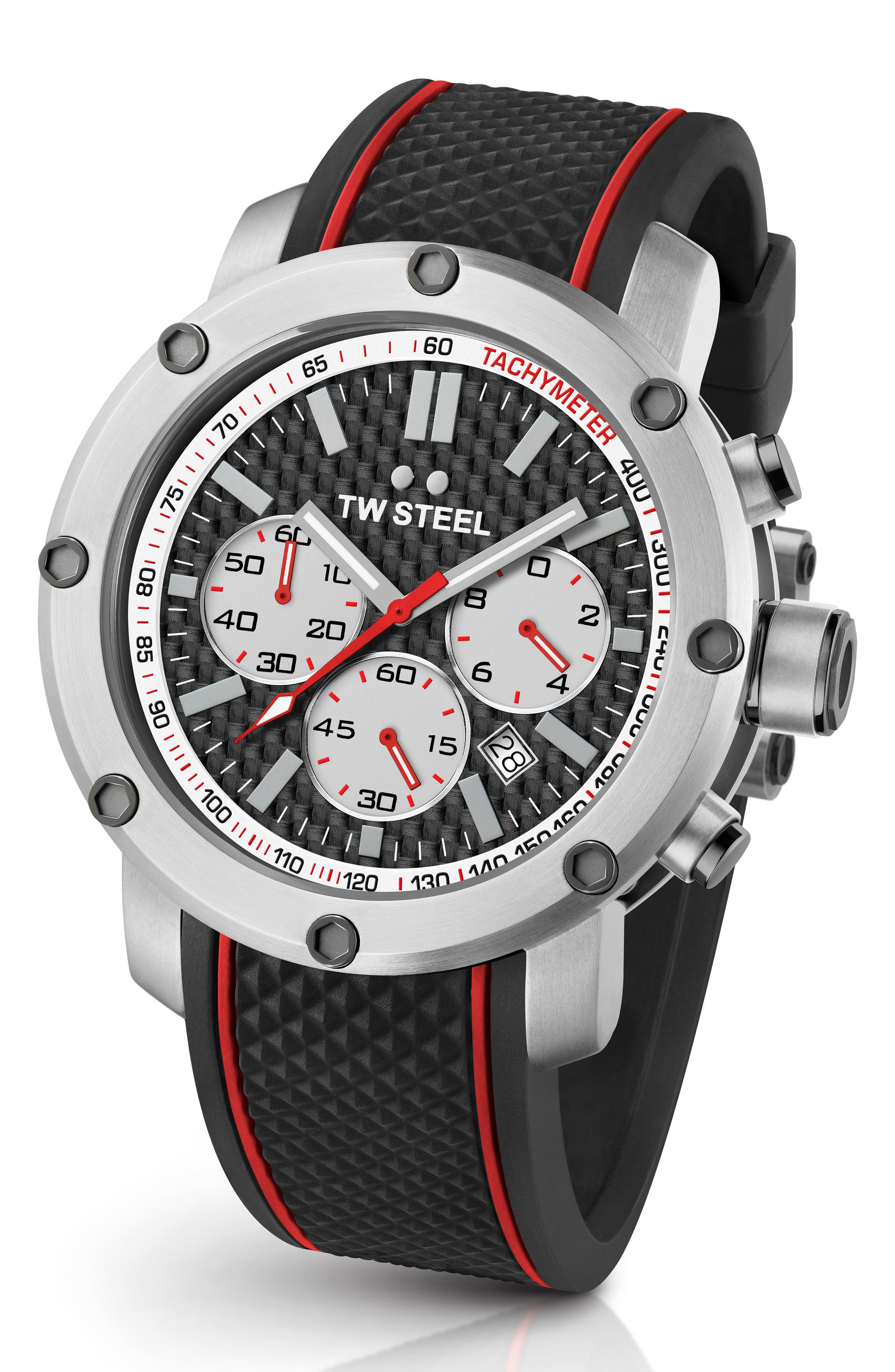 TW STEEL Grandeur Tech Silicone Strap Watch, 48Mm in Black/ Silver