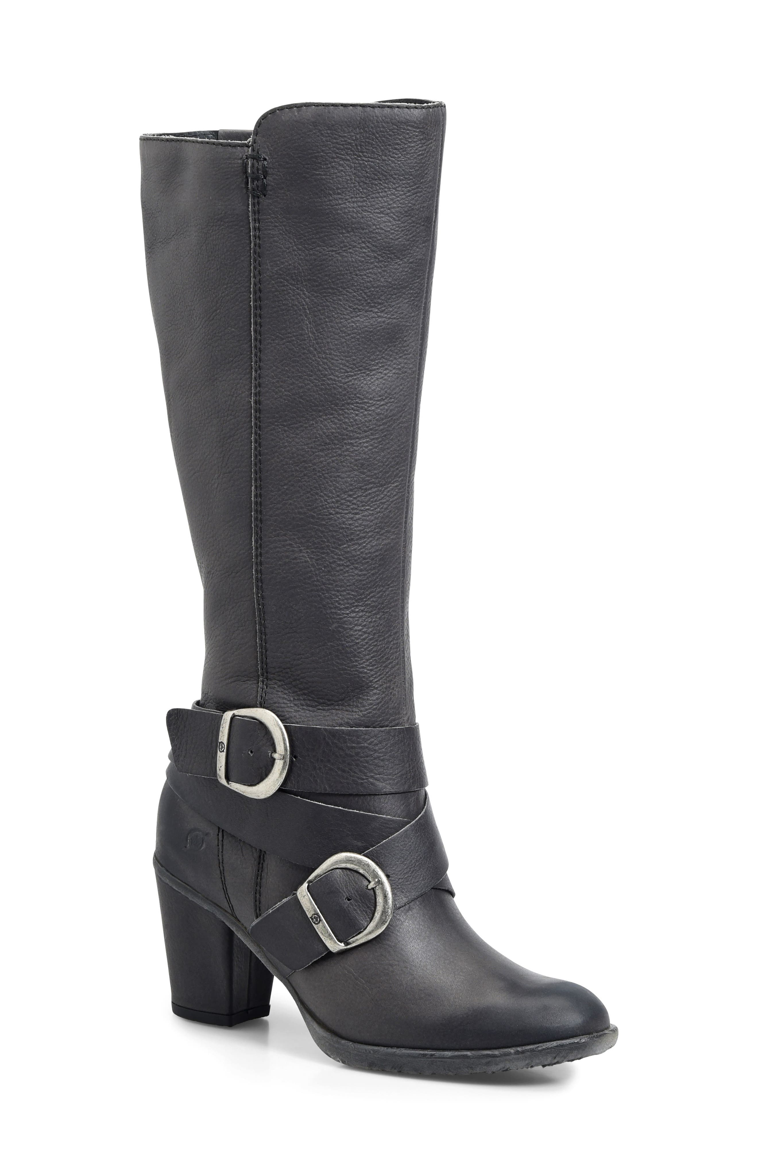 Cresent Knee High Boot,                             Main thumbnail 1, color,                             Dark Grey Leather