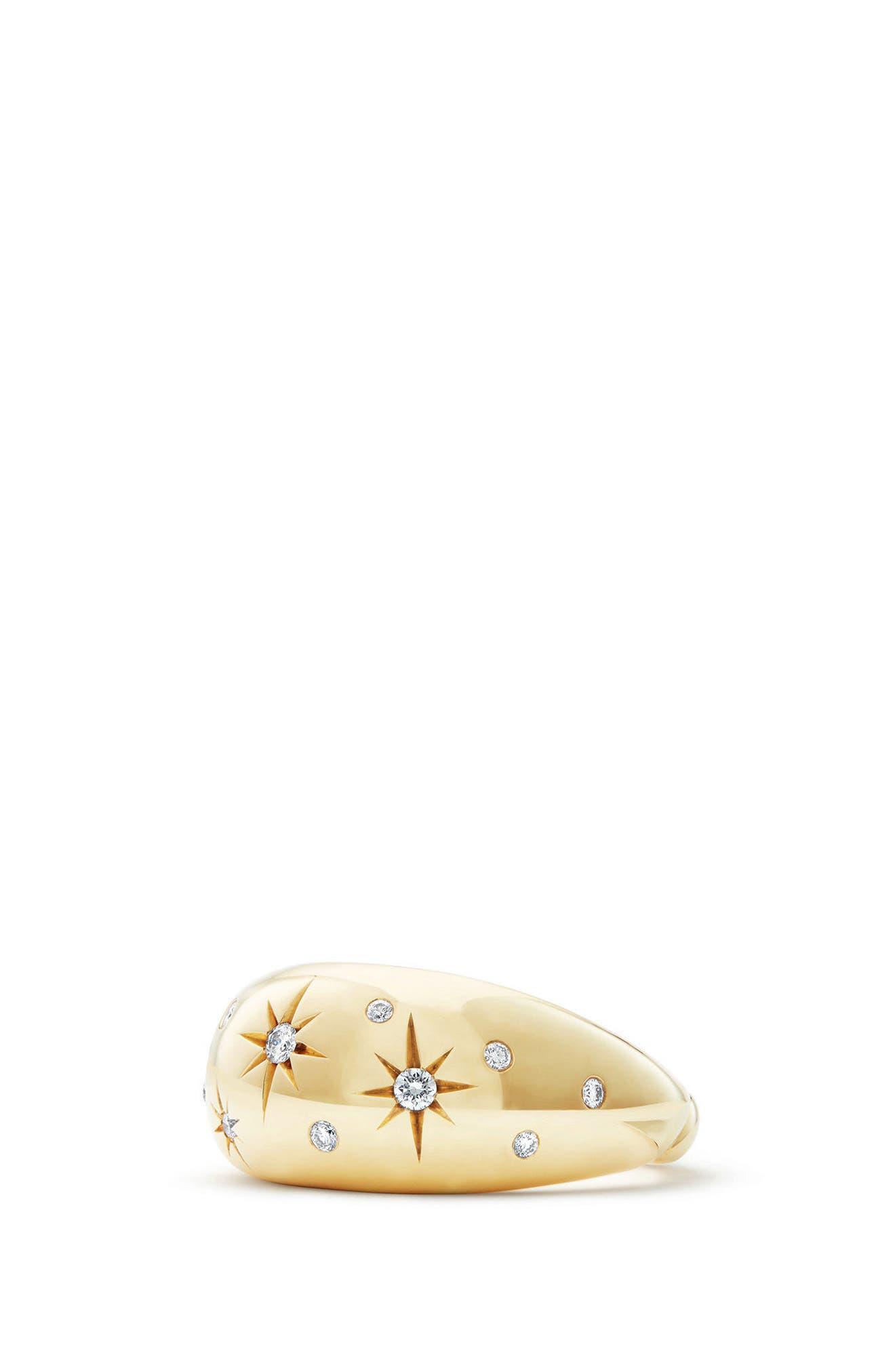 David Yurman Pure Form Ring with Diamonds in 18K Gold