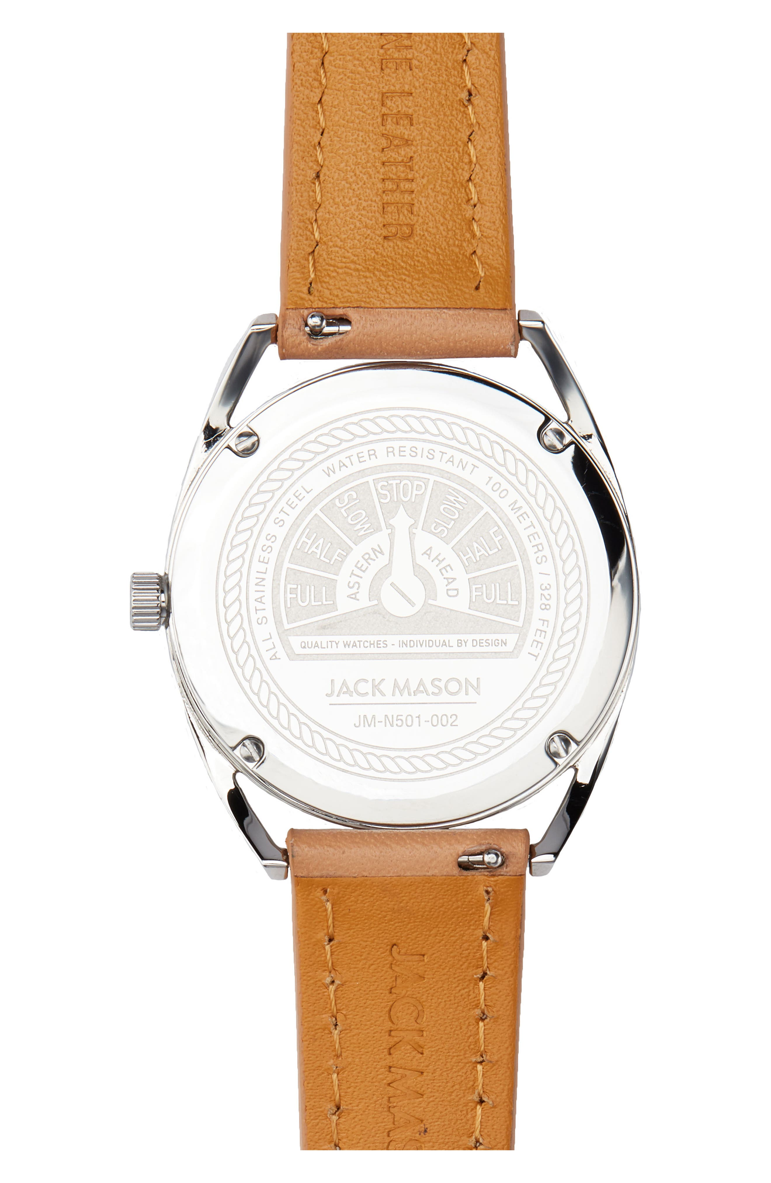 Deck Leather Strap Watch, 36mm,                             Alternate thumbnail 2, color,                             Camel/ Blue/ Silver