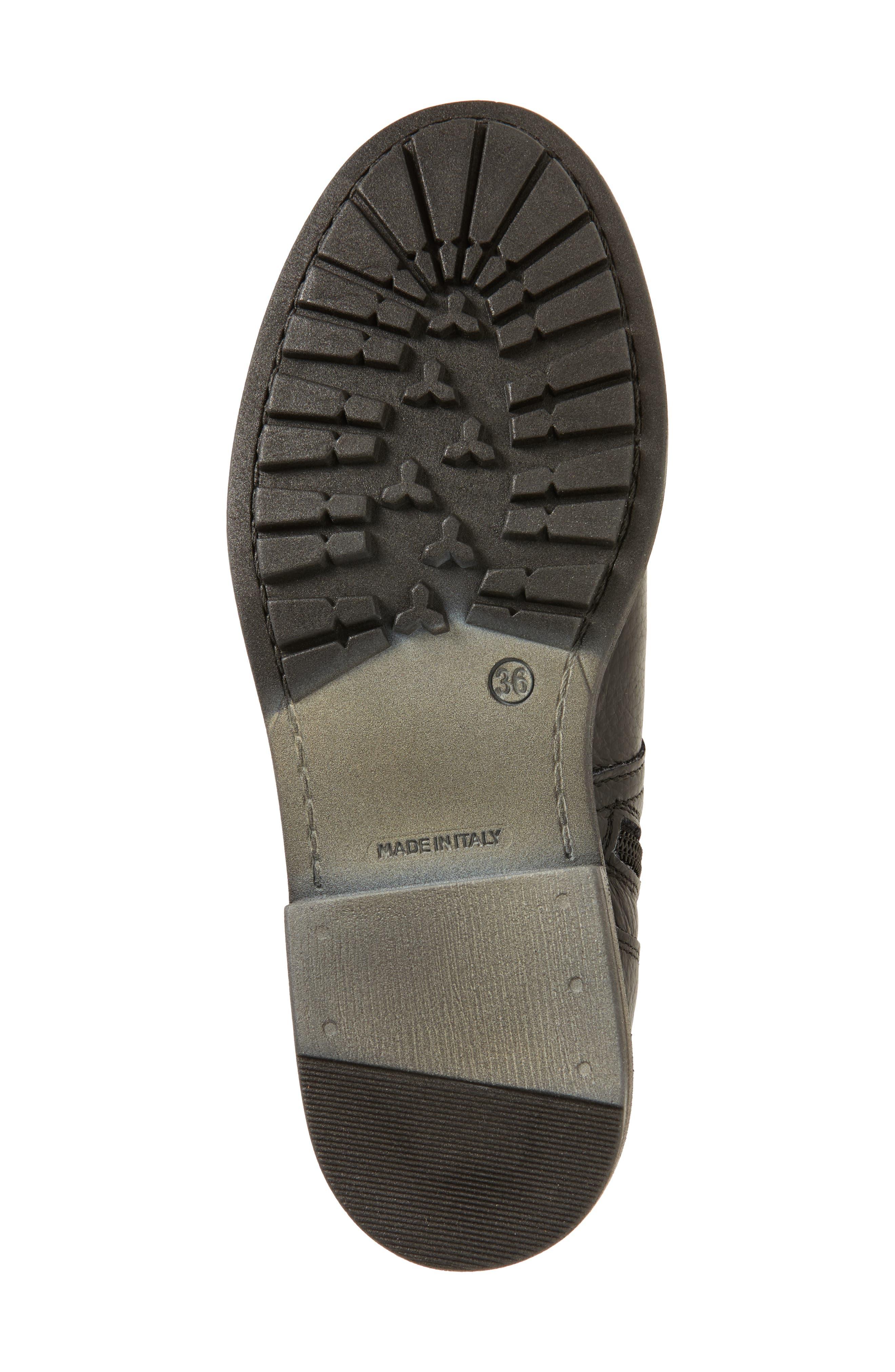 Bray Asymmetrical Zip Boot,                             Alternate thumbnail 6, color,                             Black Leather