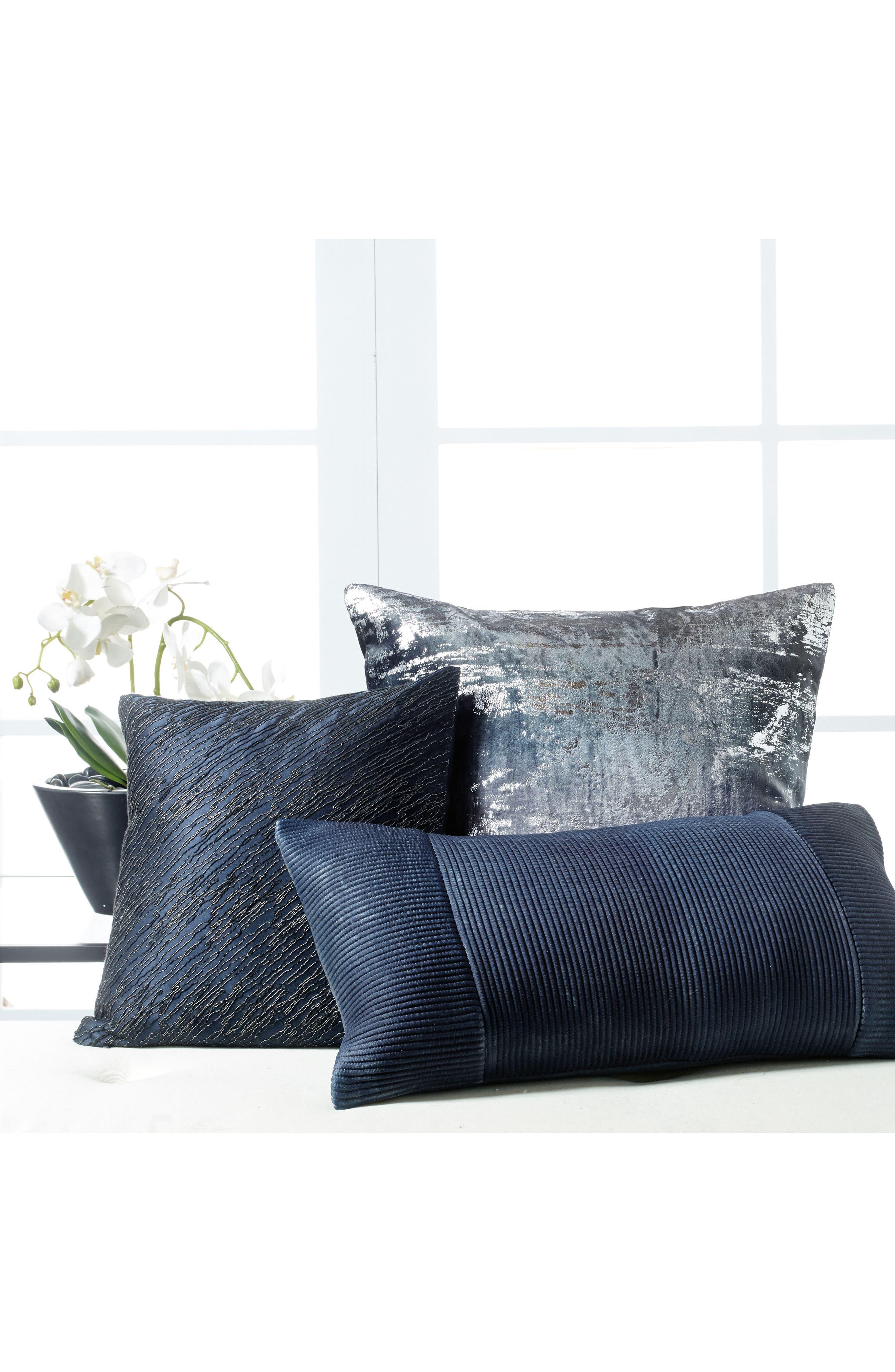 Ocean Corded Silk Accent Pillow,                             Alternate thumbnail 2, color,                             Navy