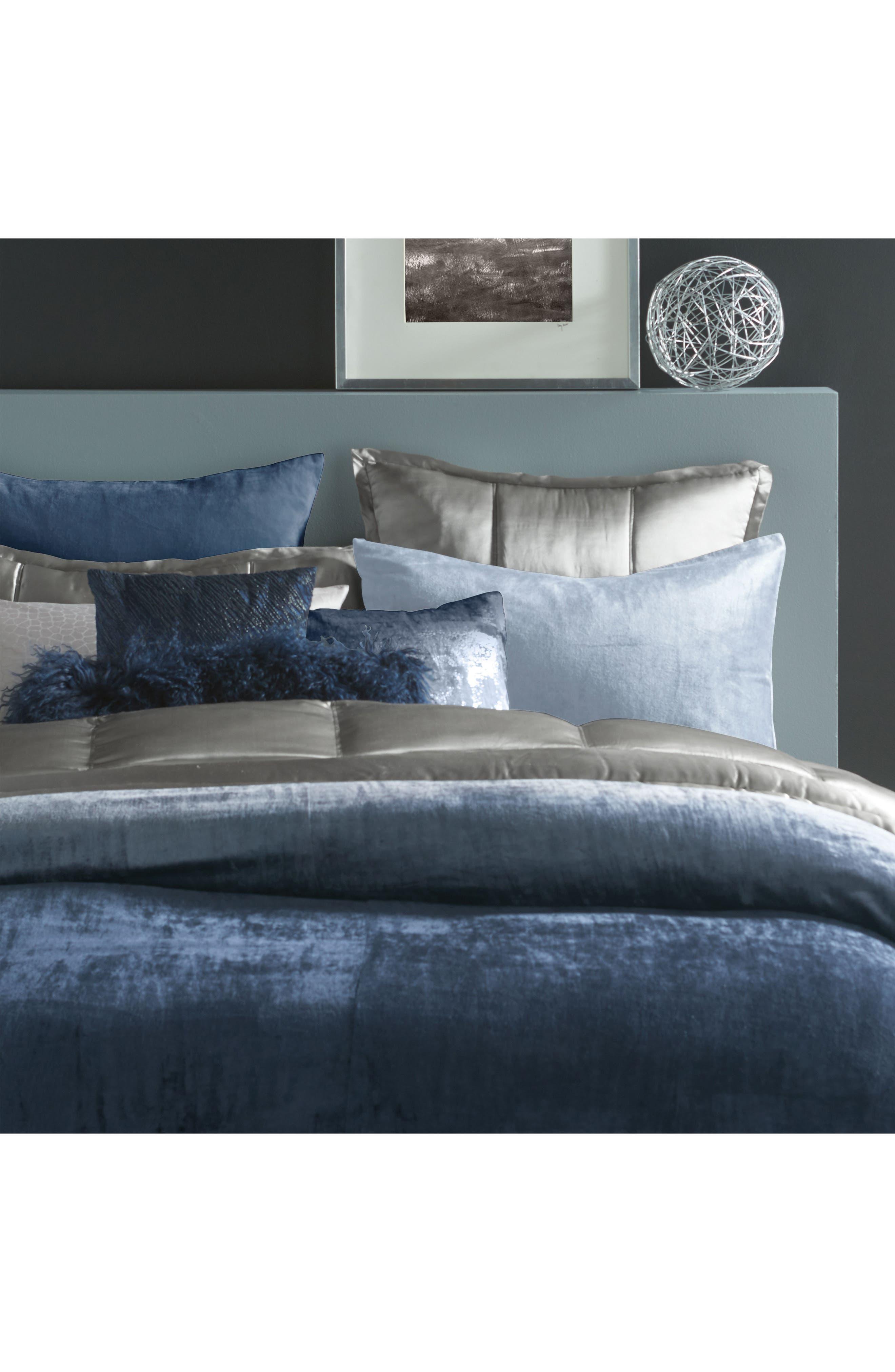 Ocean Velvet Accent Pillow,                             Alternate thumbnail 4, color,                             Navy