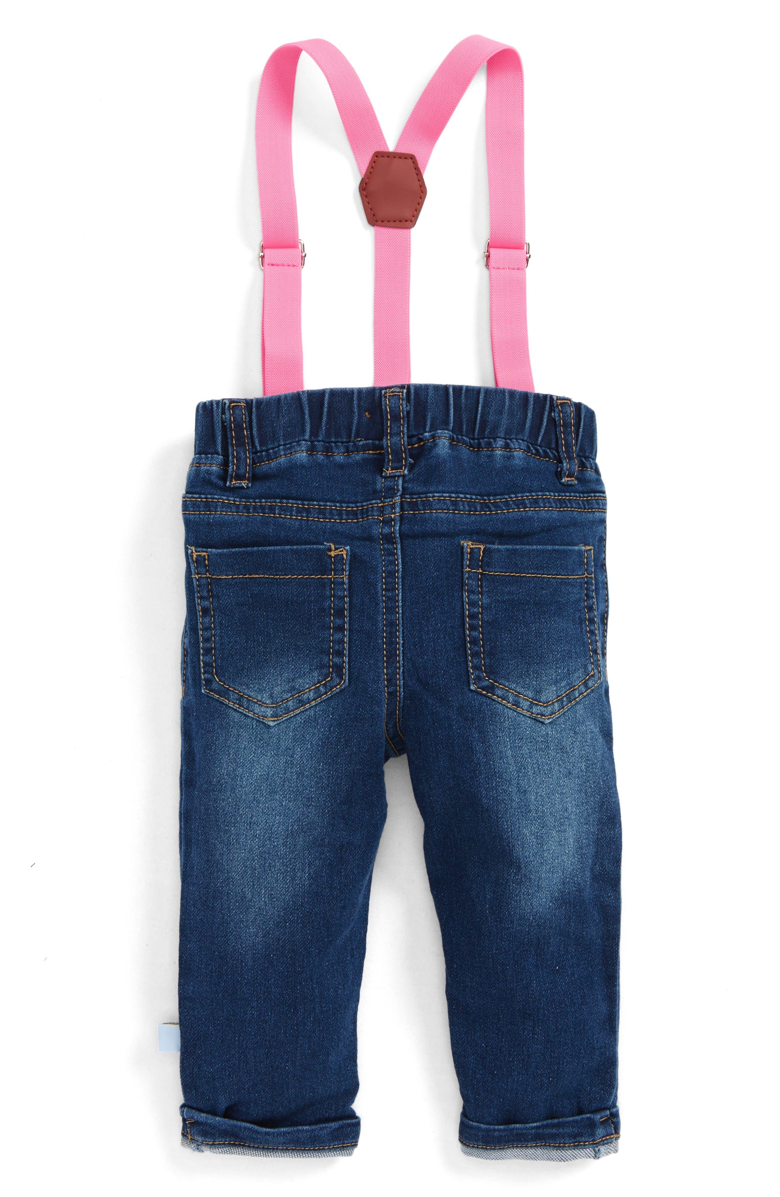 Alternate Image 2  - Rosie Pope Jeans & Suspenders Set (Baby Girls)