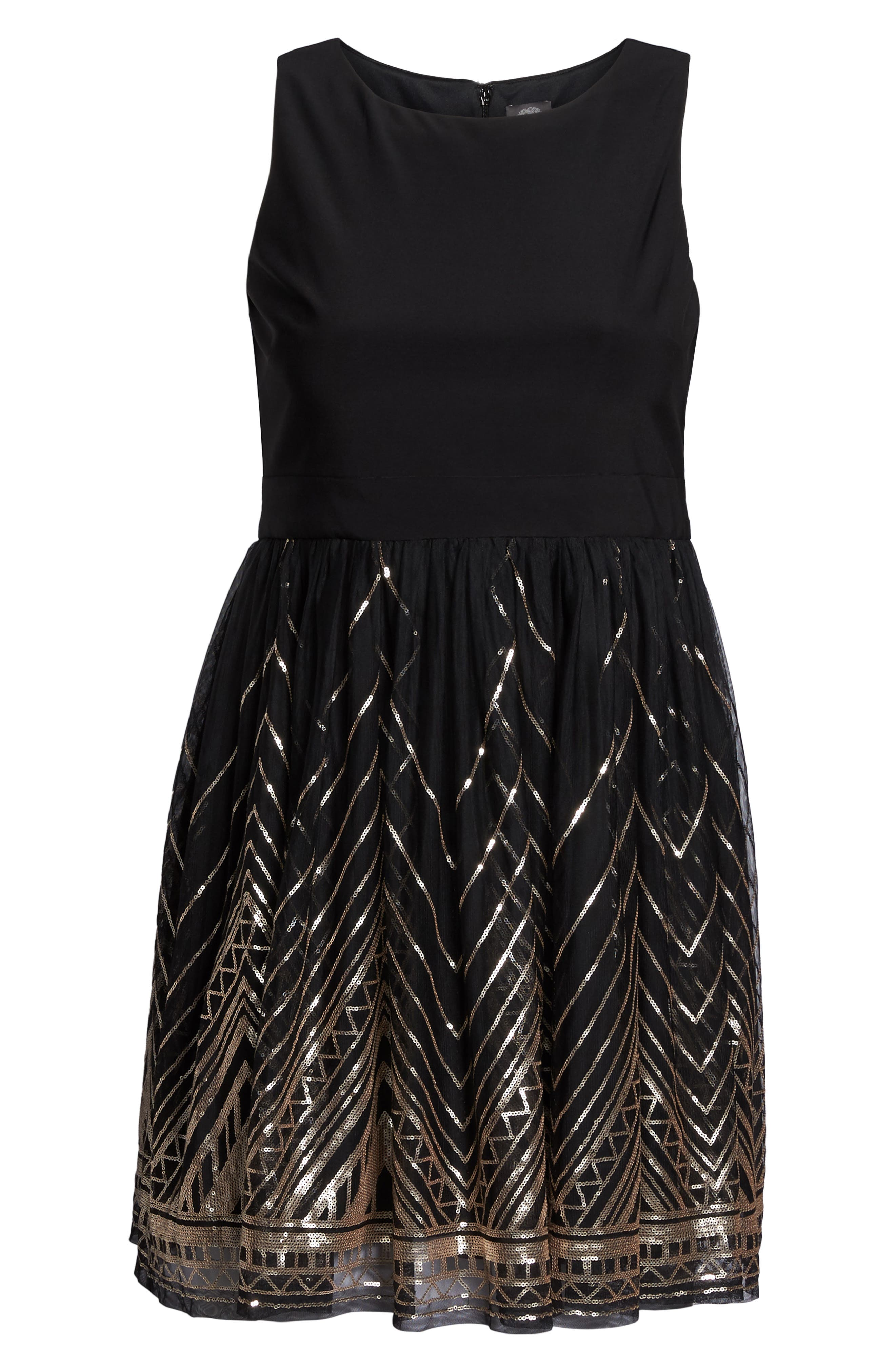 Alternate Image 6  - Vince Camuto Sequin Fit & Flare Dress (Plus Size)