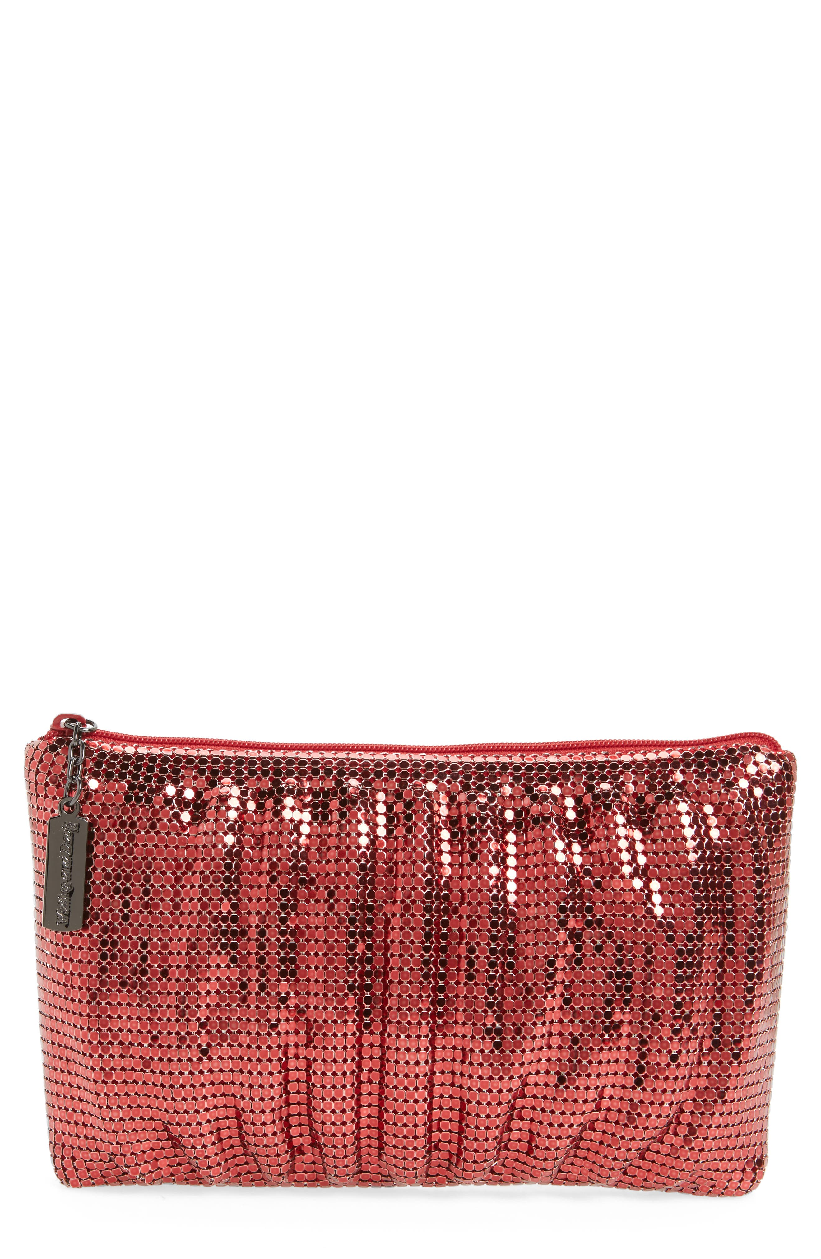 Alternate Image 1 Selected - Whiting & Davis Shirred Mesh Pouch Clutch