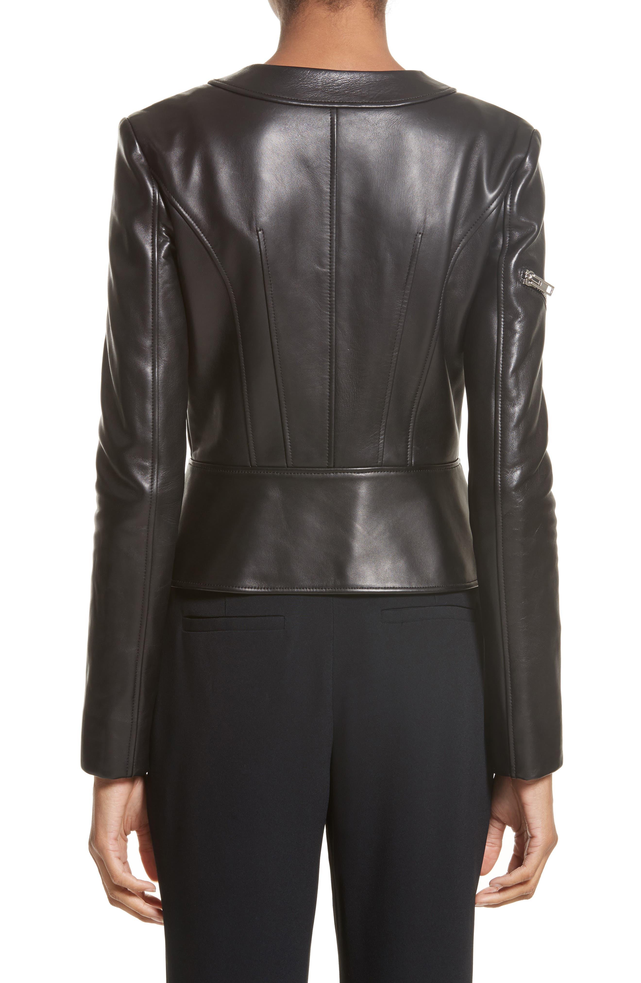 Hook Detail Lambskin Leather Jacket,                             Alternate thumbnail 2, color,                             Black
