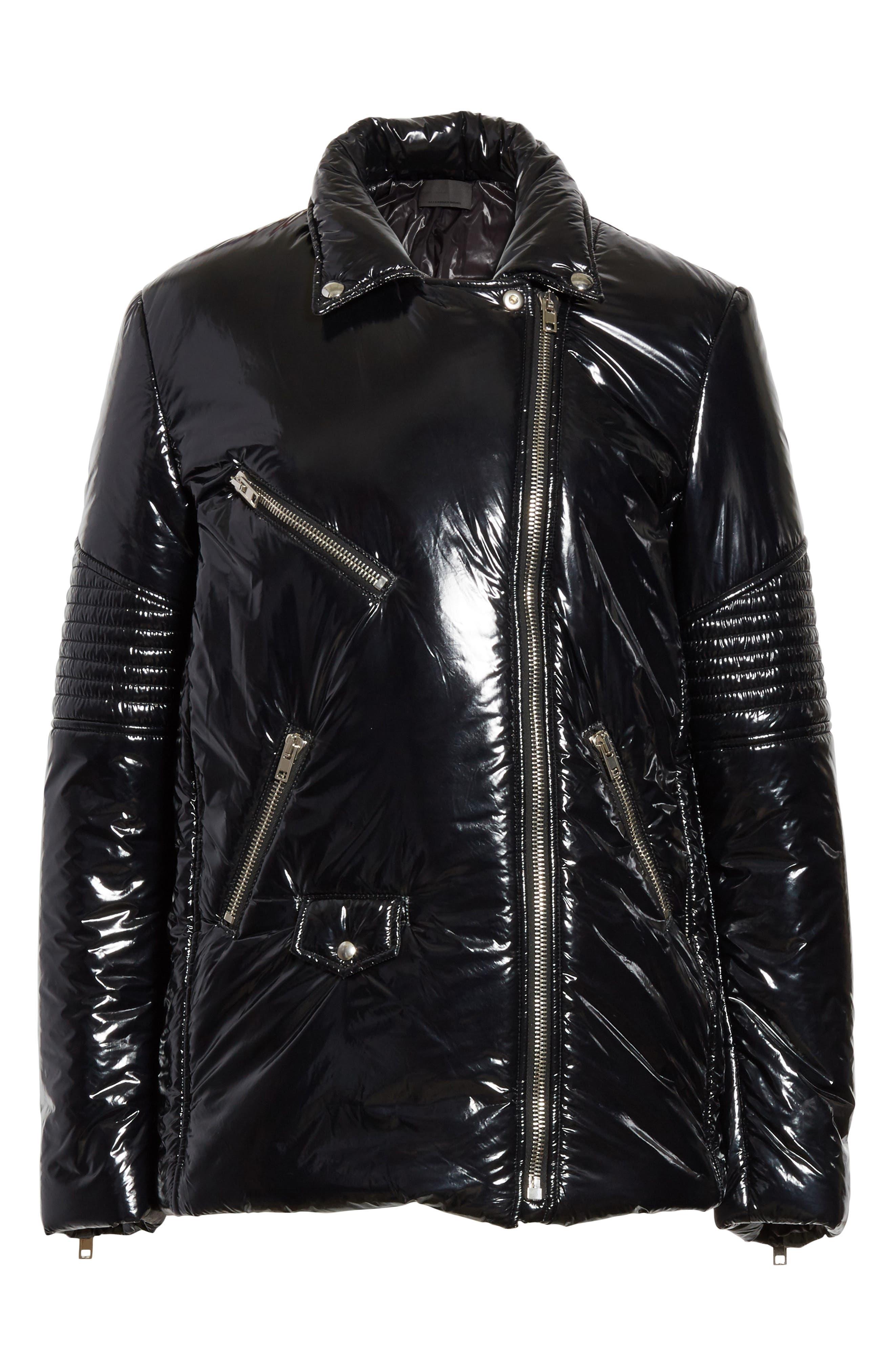 Moto Puffer Jacket,                             Alternate thumbnail 6, color,                             Black/ Black