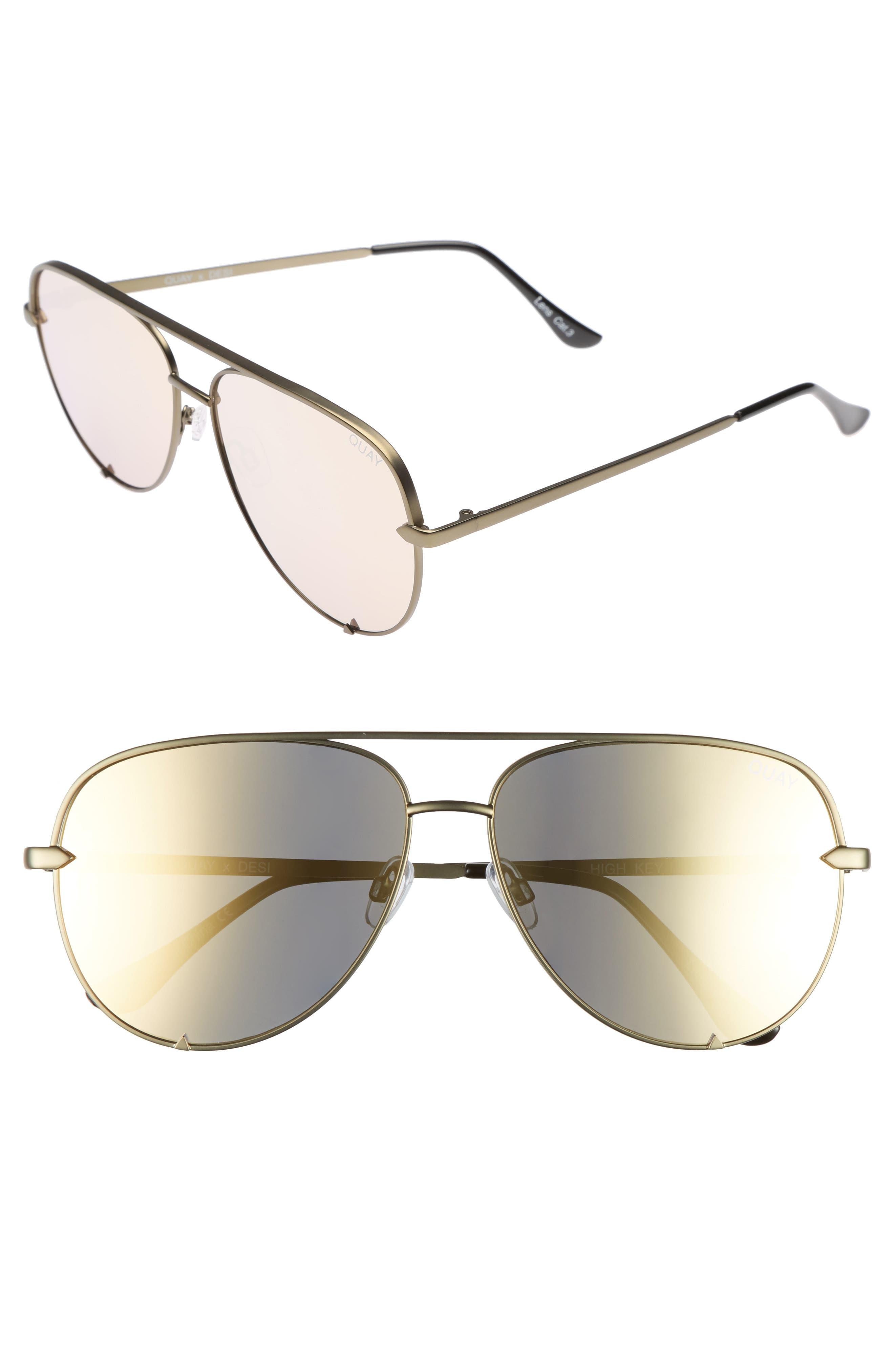 x Desi Perkins High Key 60mm Aviator Sunglasses,                             Main thumbnail 1, color,                             Green/ Gold