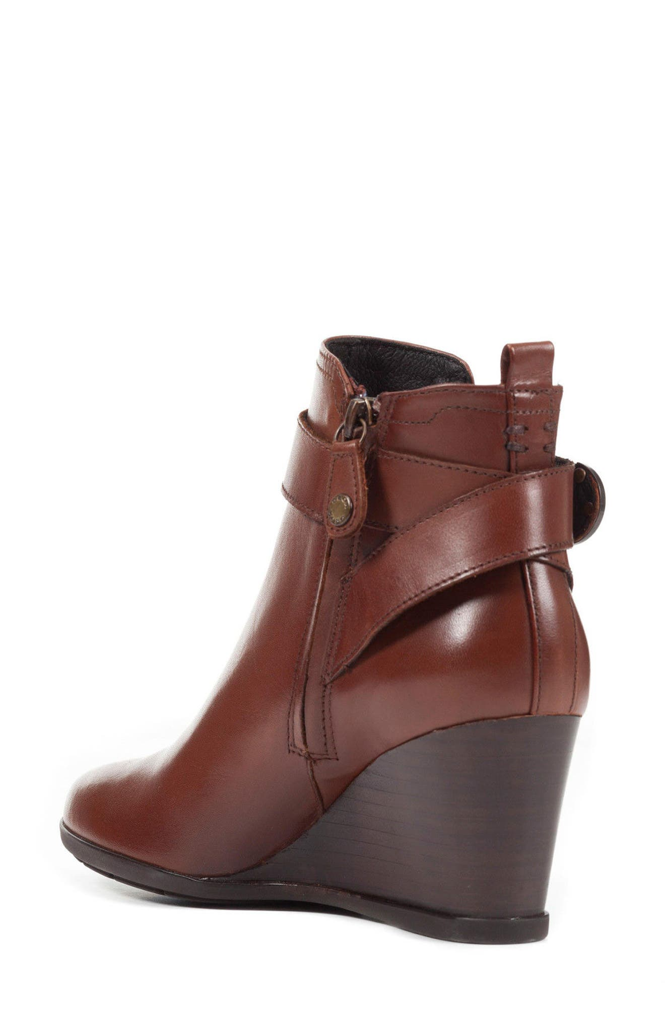 Inspiration Buckle Wedge Bootie,                             Alternate thumbnail 2, color,                             Brown Leather