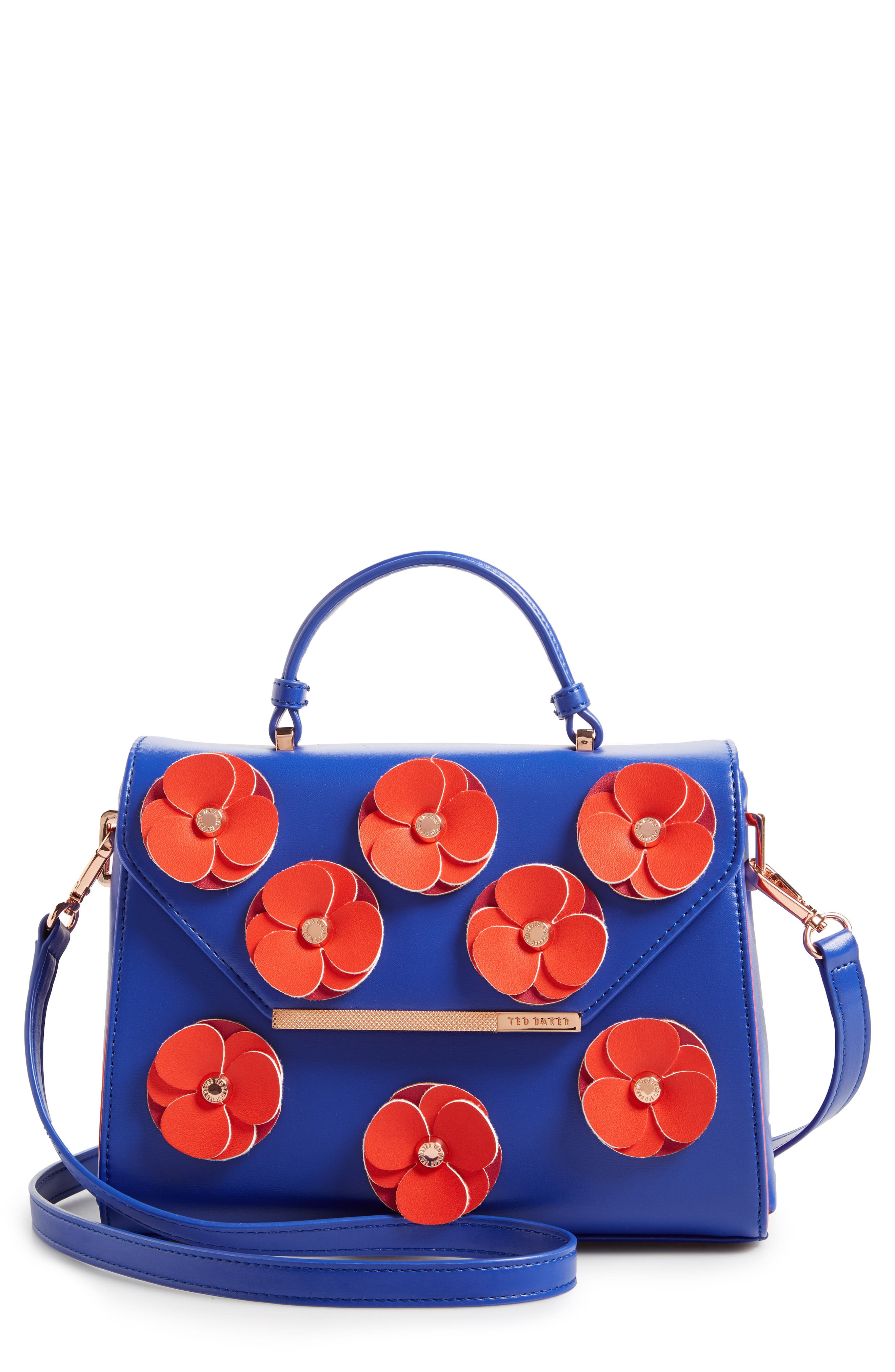 Main Image - Ted Baker London Daisii Appliqué Faux Leather Top Handle Satchel