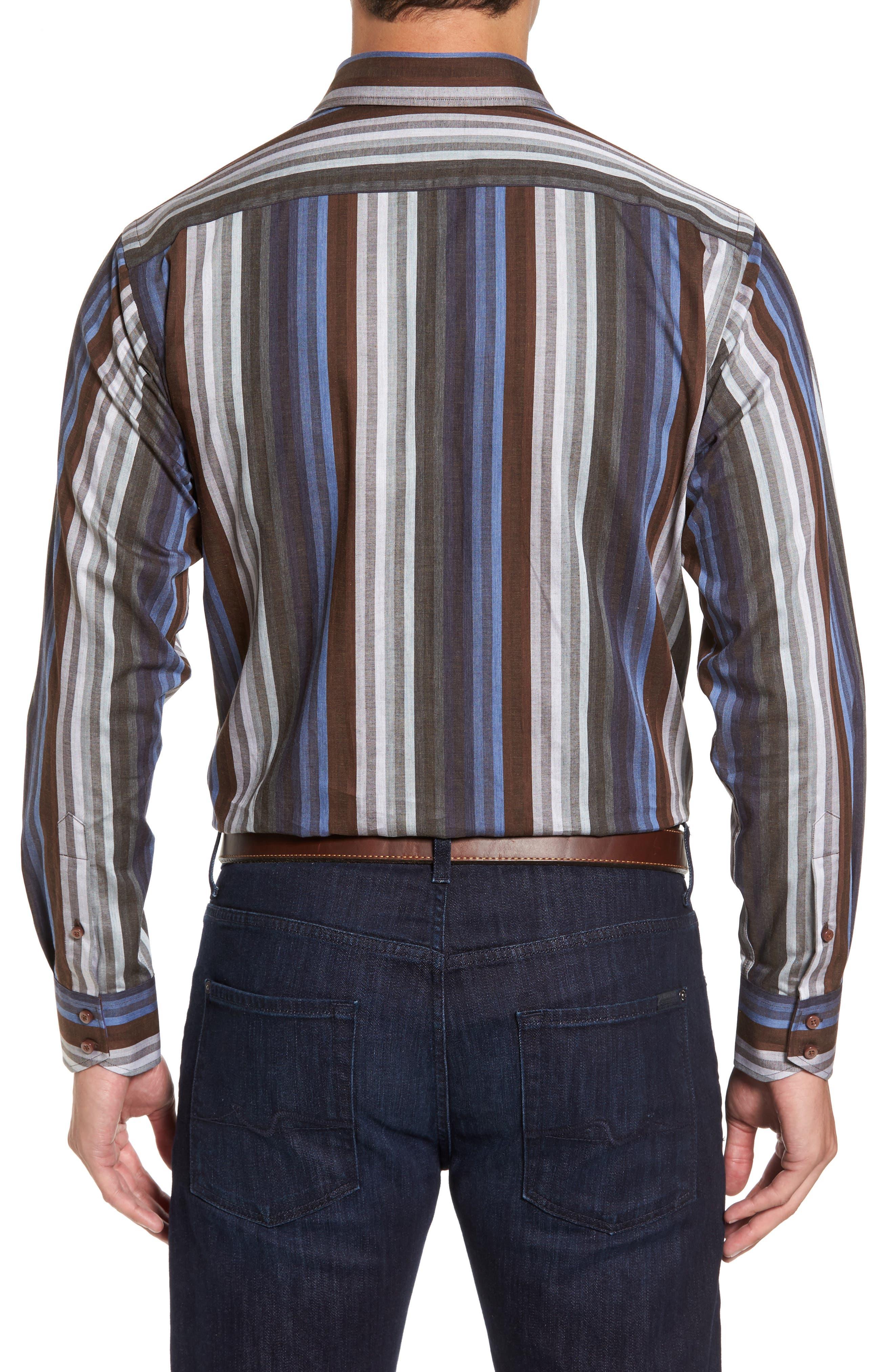 Alternate Image 2  - Thomas Dean Regular Fit Multicolor Stripe Herringbone Sport Shirt