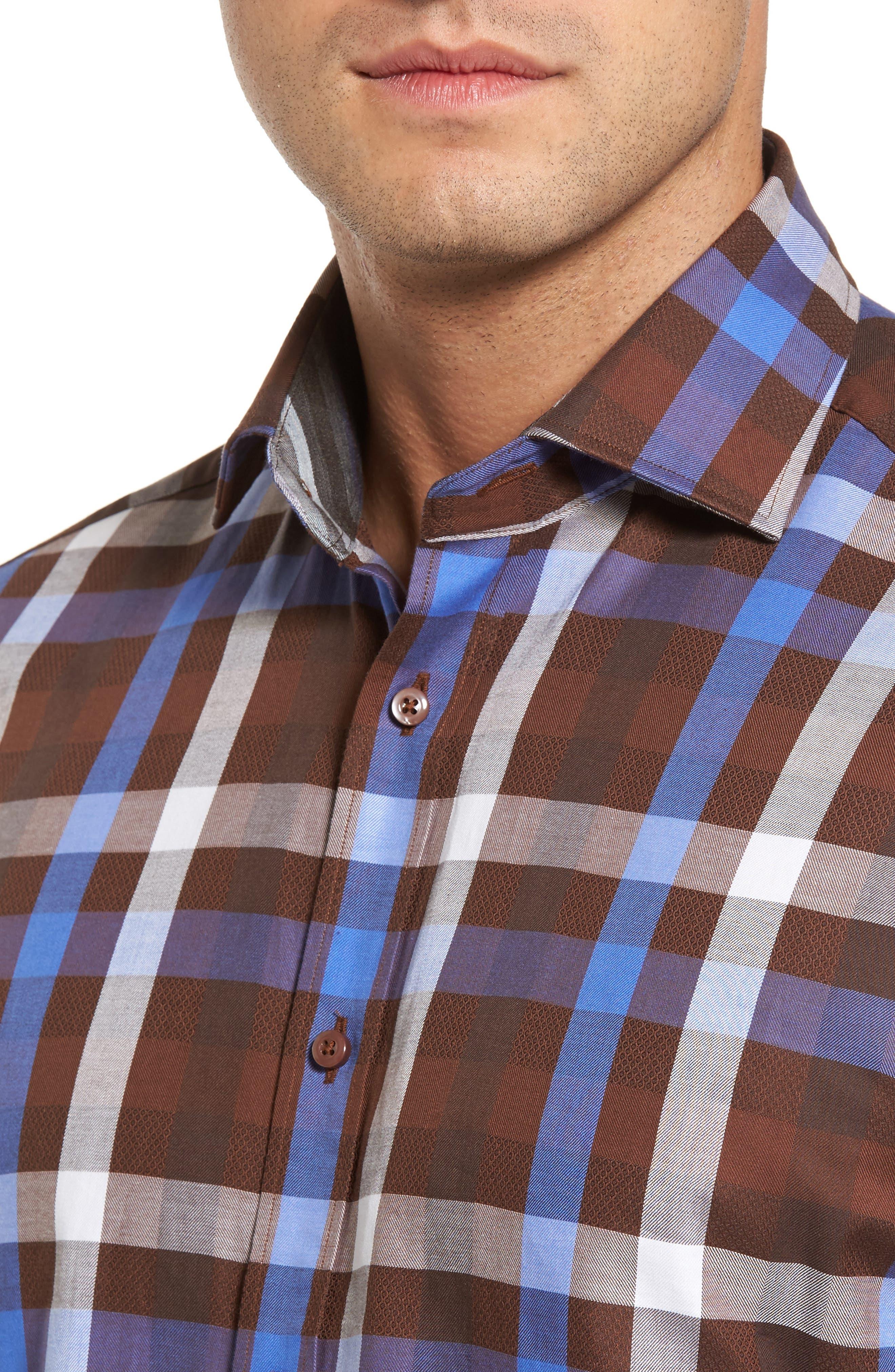 Regular Fit Dobby Check Sport Shirt,                             Alternate thumbnail 4, color,                             Brown