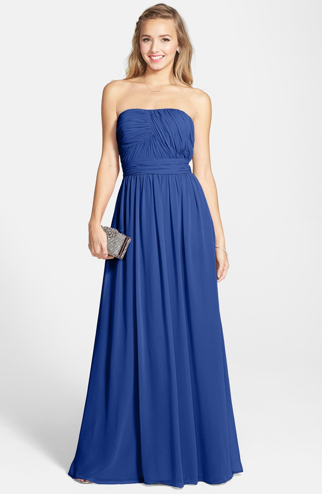Main Image - Hailey by Adrianna Papell Shirred Chiffon Strapless Gown