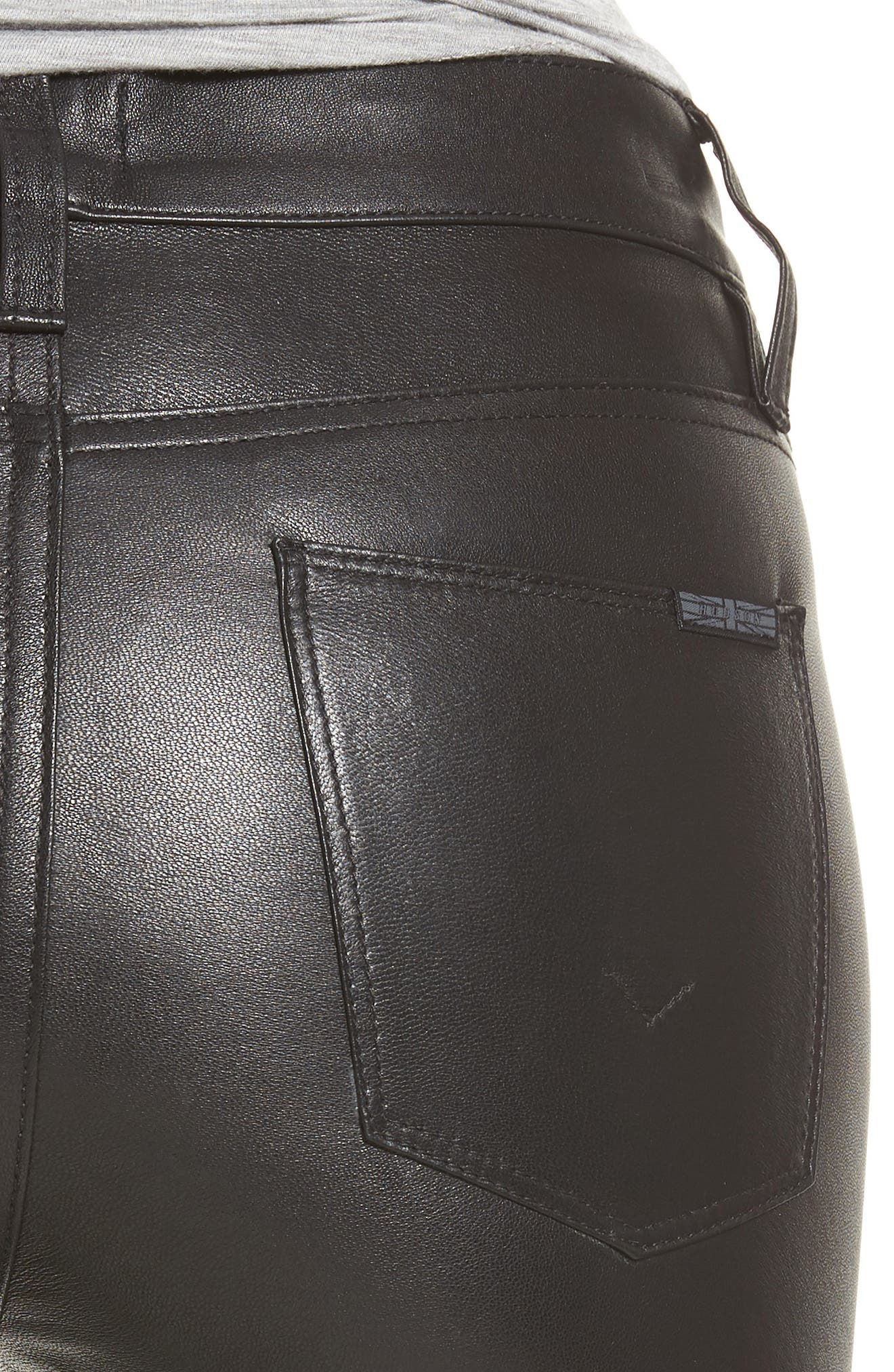 Barbara High Waist Ankle Skinny Leather Pants,                             Alternate thumbnail 4, color,                             Black Leather