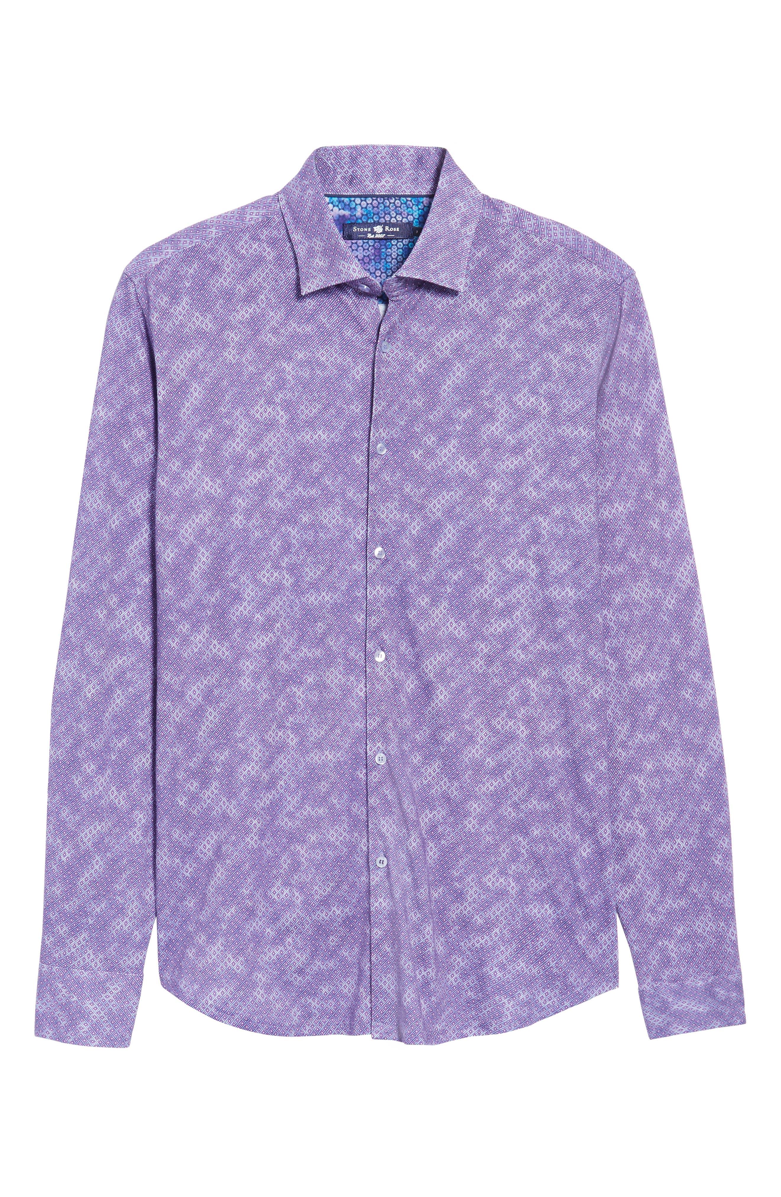 Alternate Image 6  - Stone Rose Slim Fit Wavy Diamond Print Sport Shirt