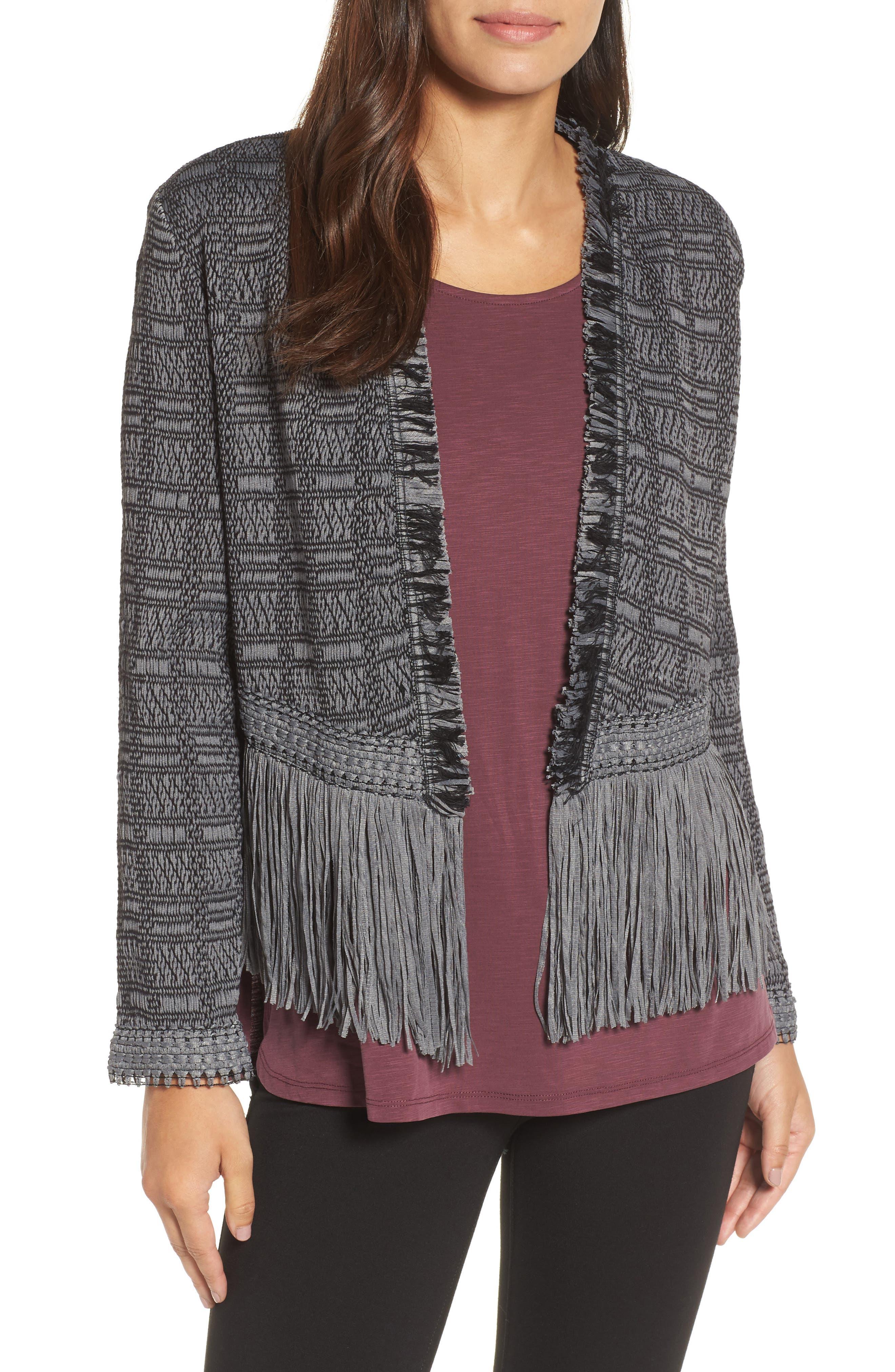 Steel Fringe Jacket,                         Main,                         color, Warm Grey