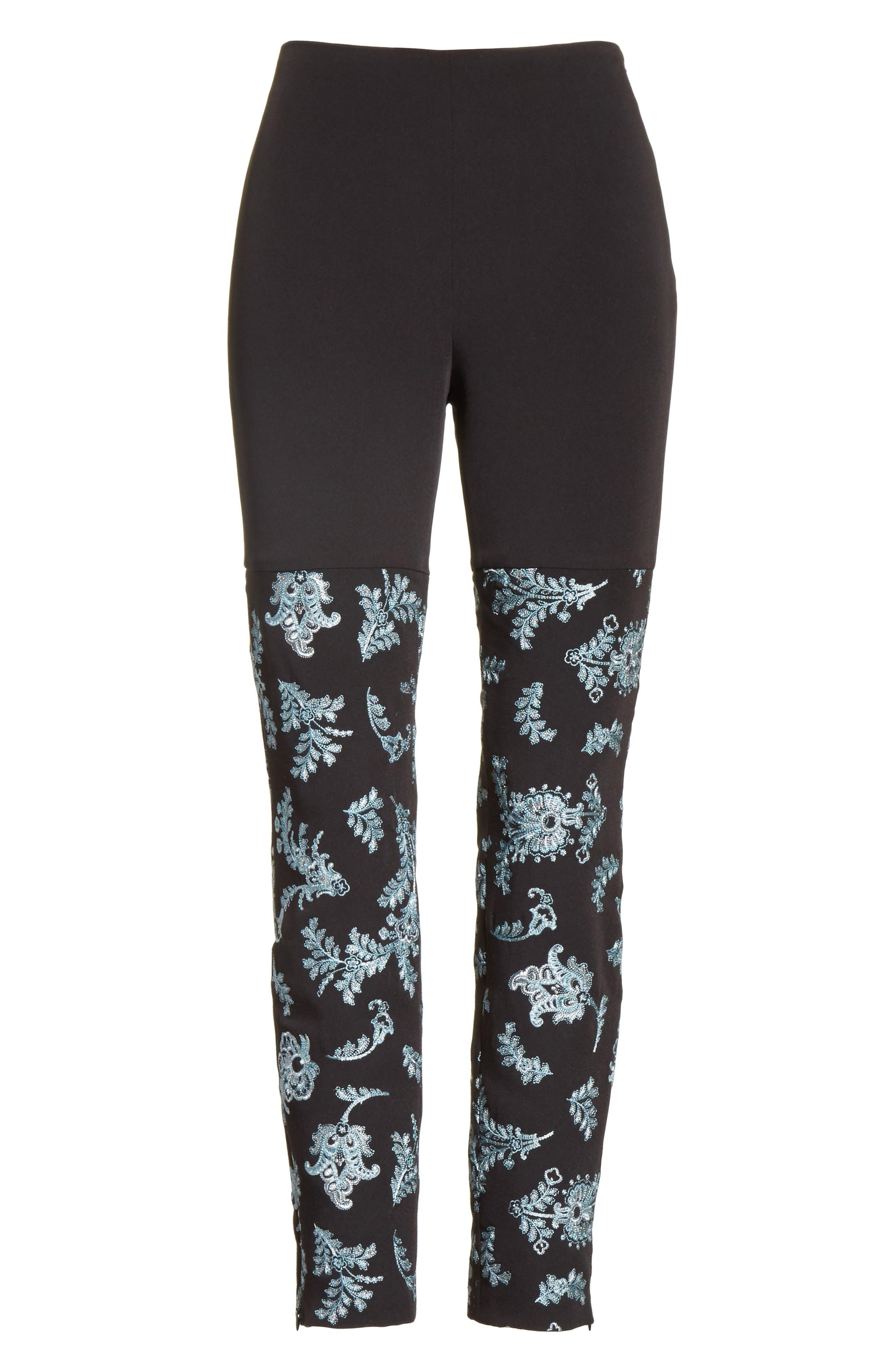 Marin Embroidered Leggings,                             Alternate thumbnail 7, color,                             Black/ Silver/ Sunshower