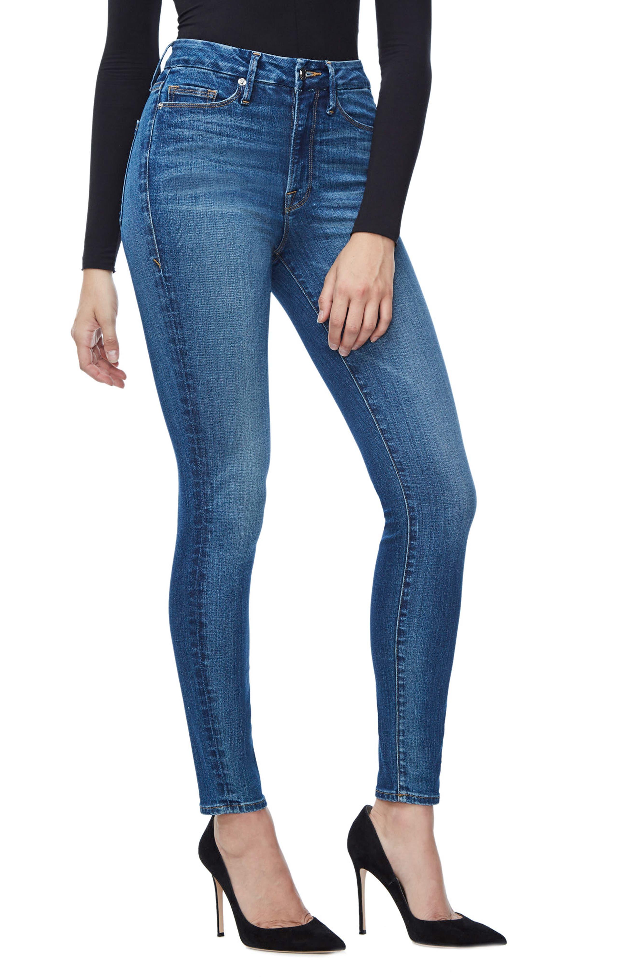 Alternate Image 3  - Good American Good Waist High Waist Skinny Jeans (Blue 093) (Extended Sizes)