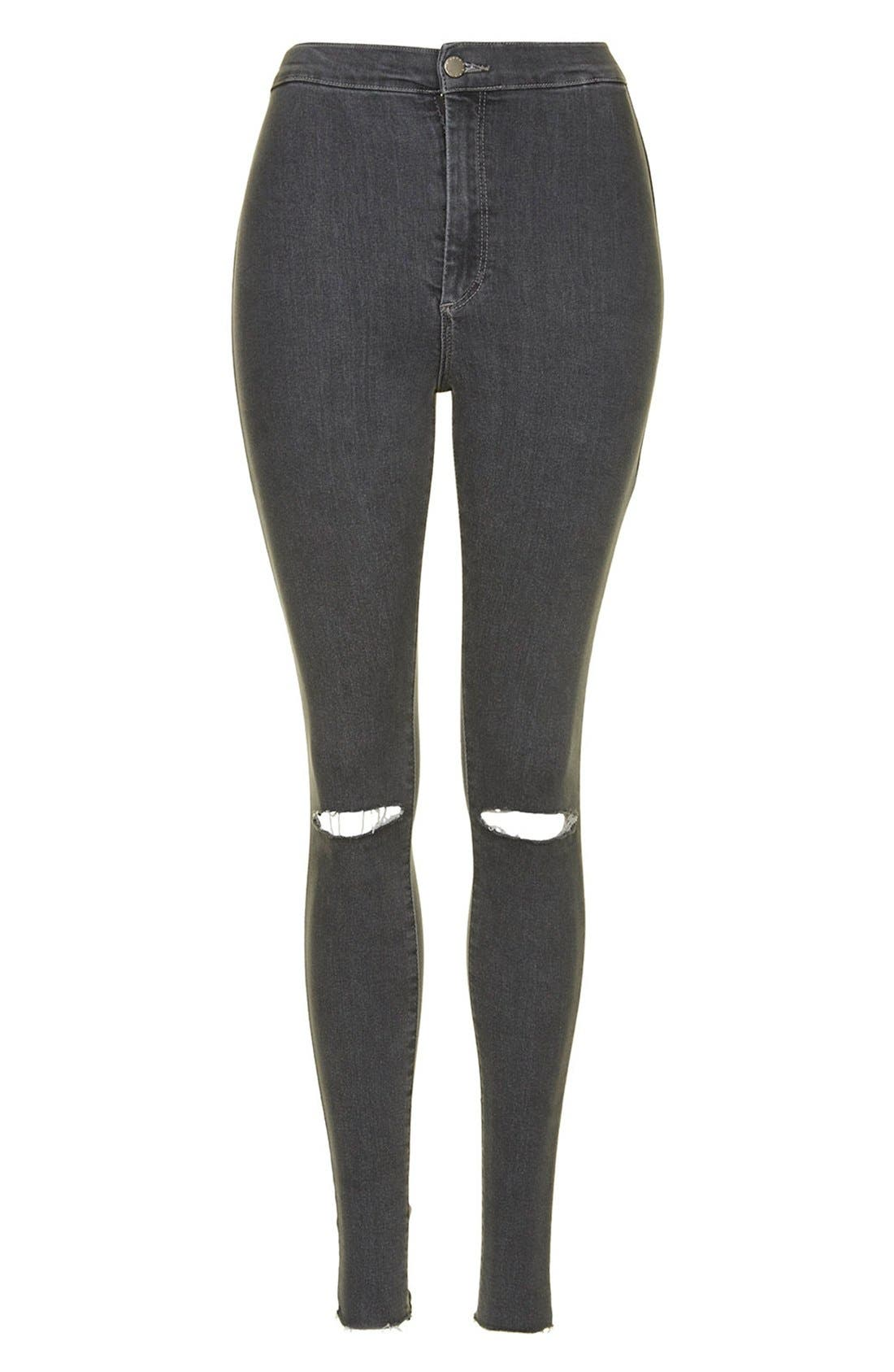 Alternate Image 3  - Topshop Moto 'Joni' Ripped Skinny Jeans (Grey) Regular and Short