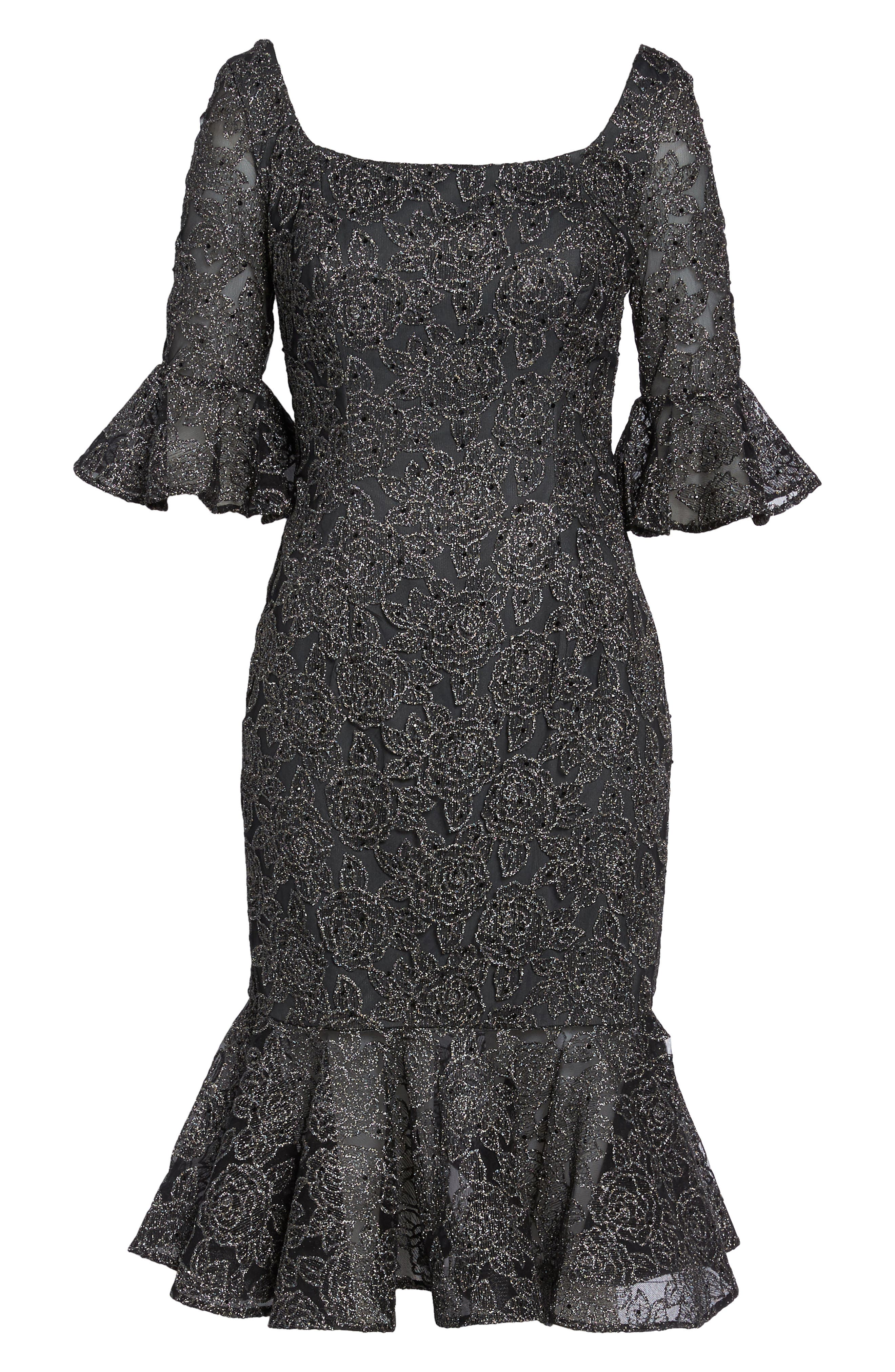 Alternate Image 6  - La Femme Mermaid Hem Embroidered Mesh Sheath Dress